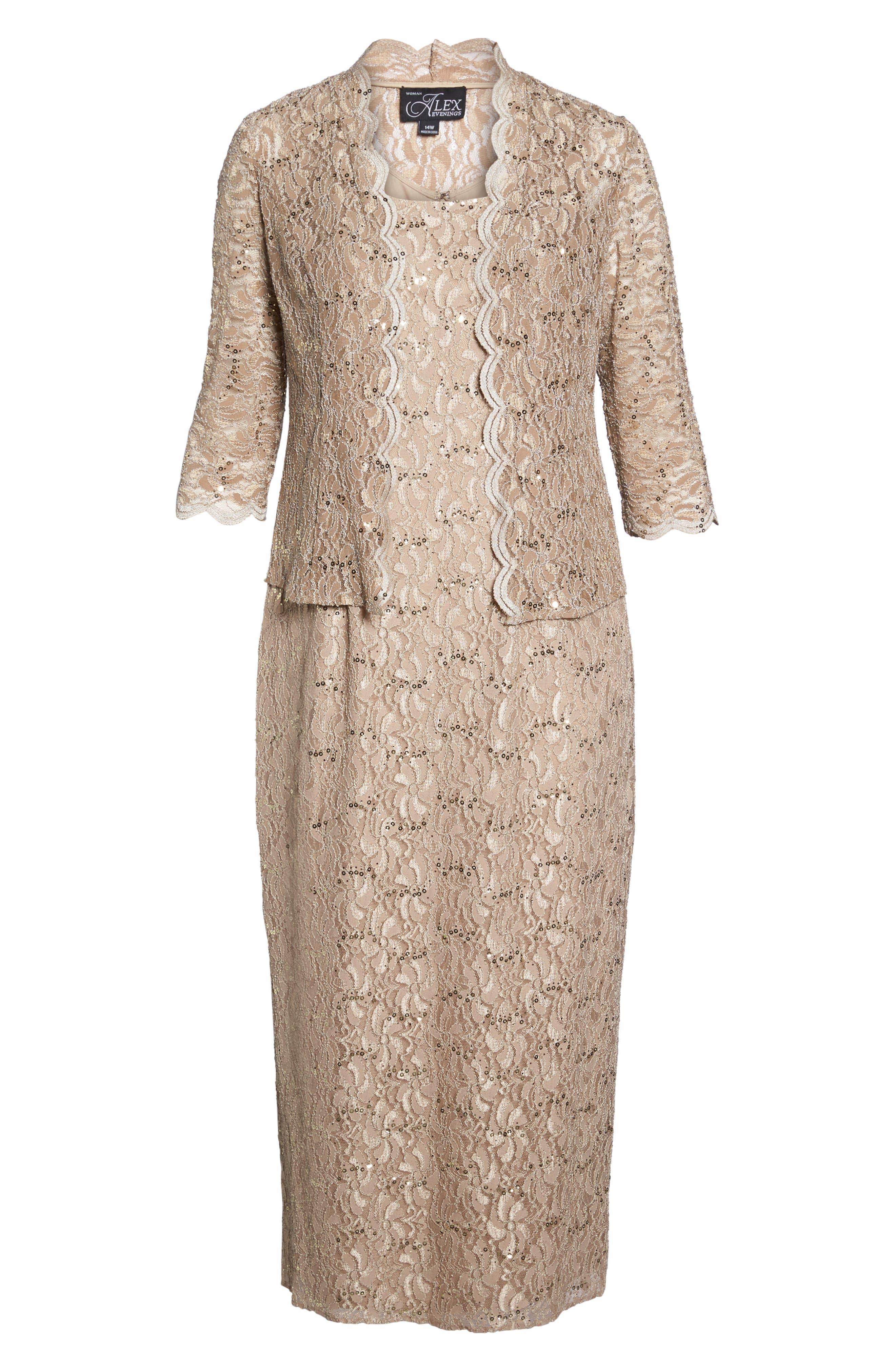 Sequin Lace Gown & Jacket,                             Alternate thumbnail 6, color,                             Champagne