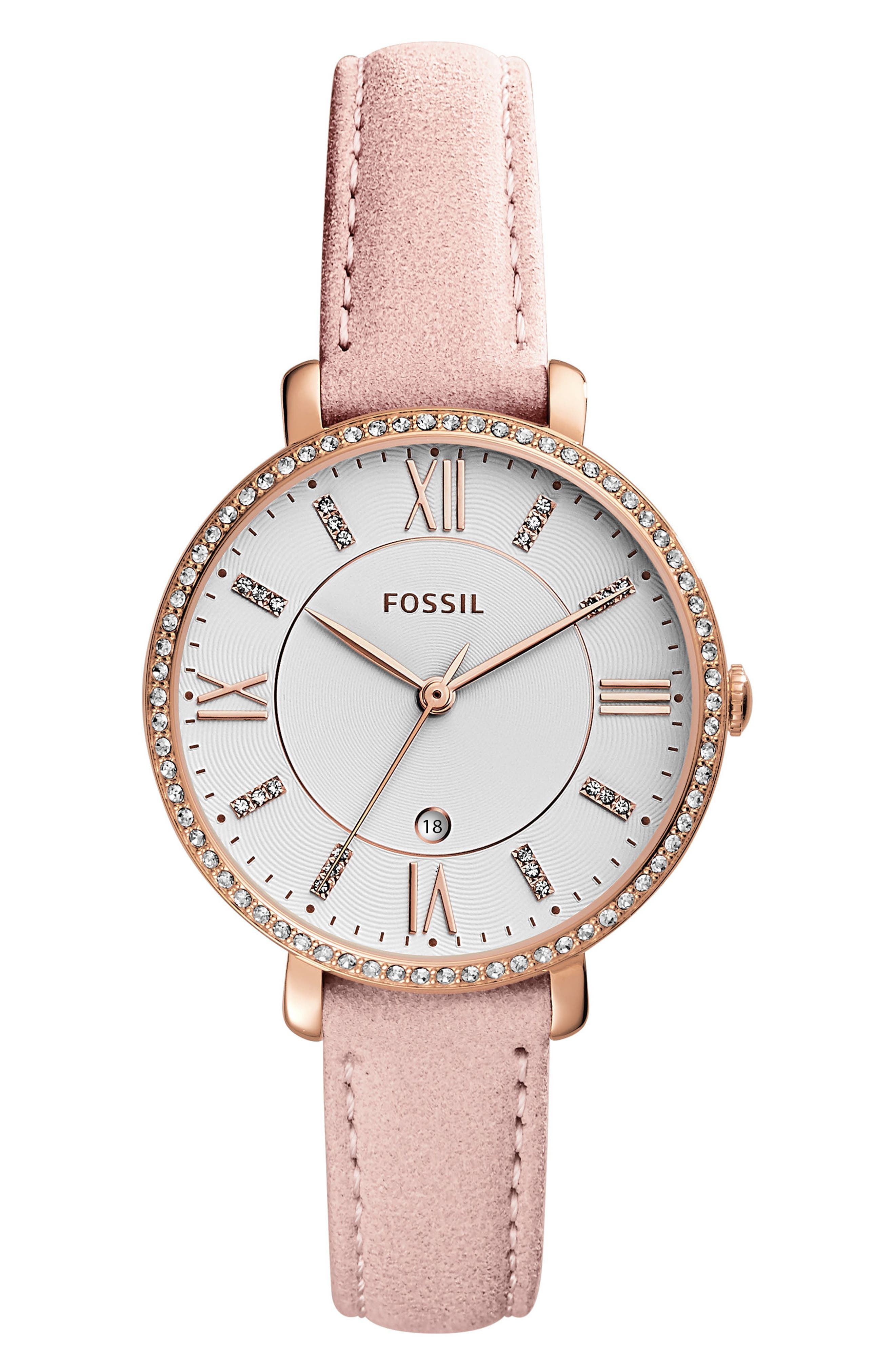 Jacqueline Leather Strap Watch, 36mm,                             Main thumbnail 1, color,                             Beige/ White/ Rose Gold