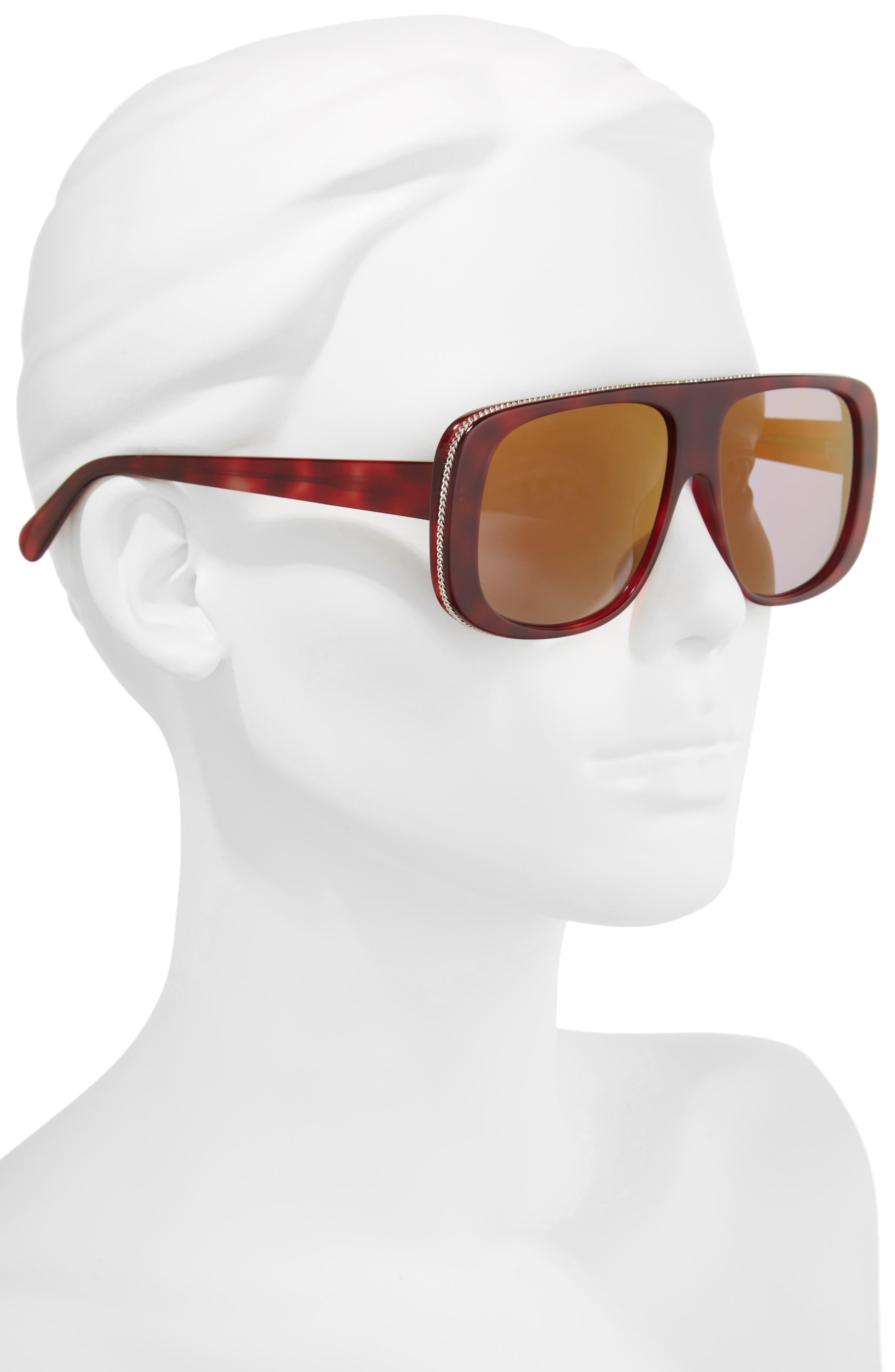 57mm Flat Top Sunglasses,                             Alternate thumbnail 2, color,                             Avana