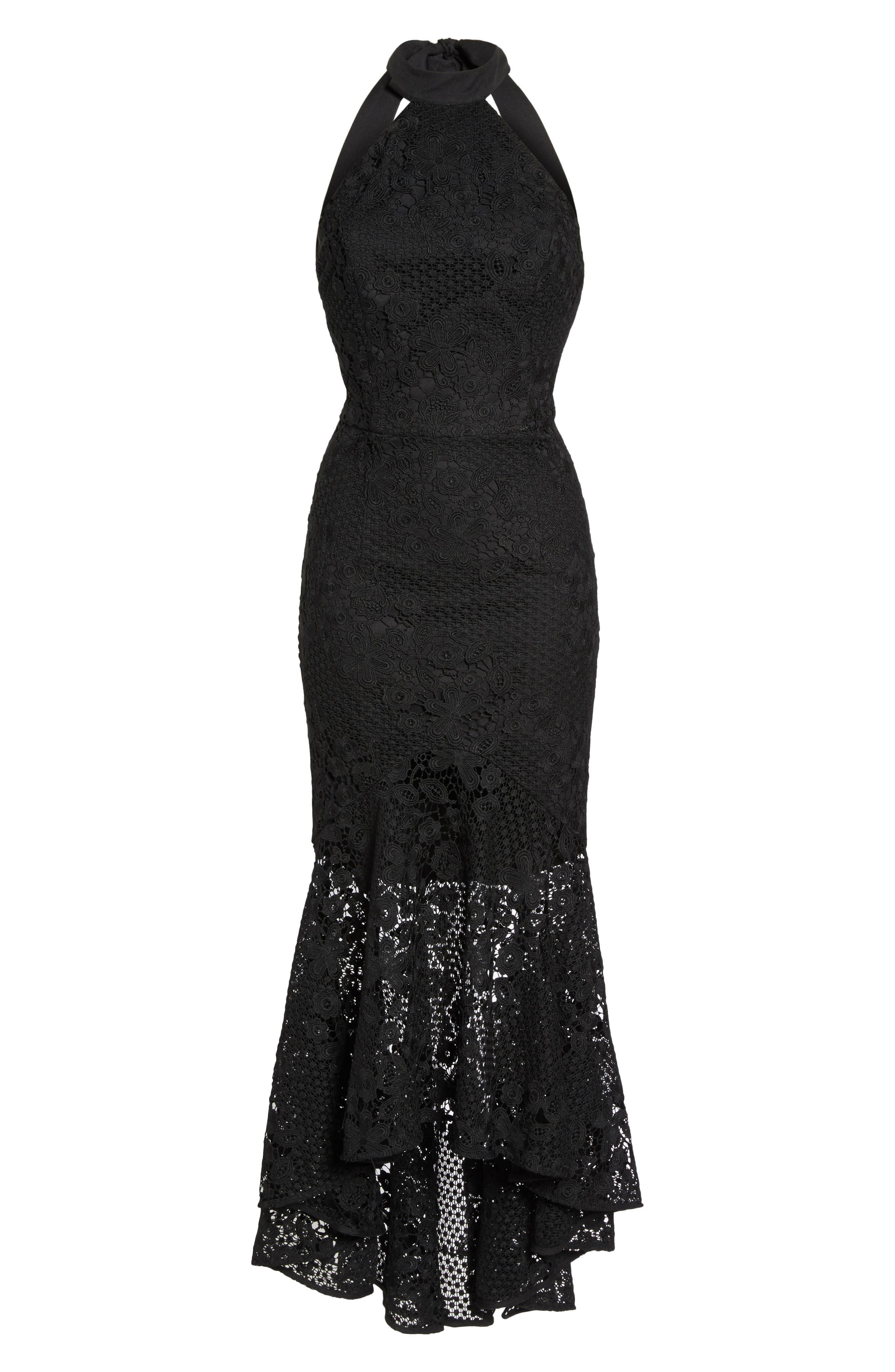 Pascal Lace Halter Neck Gown,                             Alternate thumbnail 6, color,                             Black
