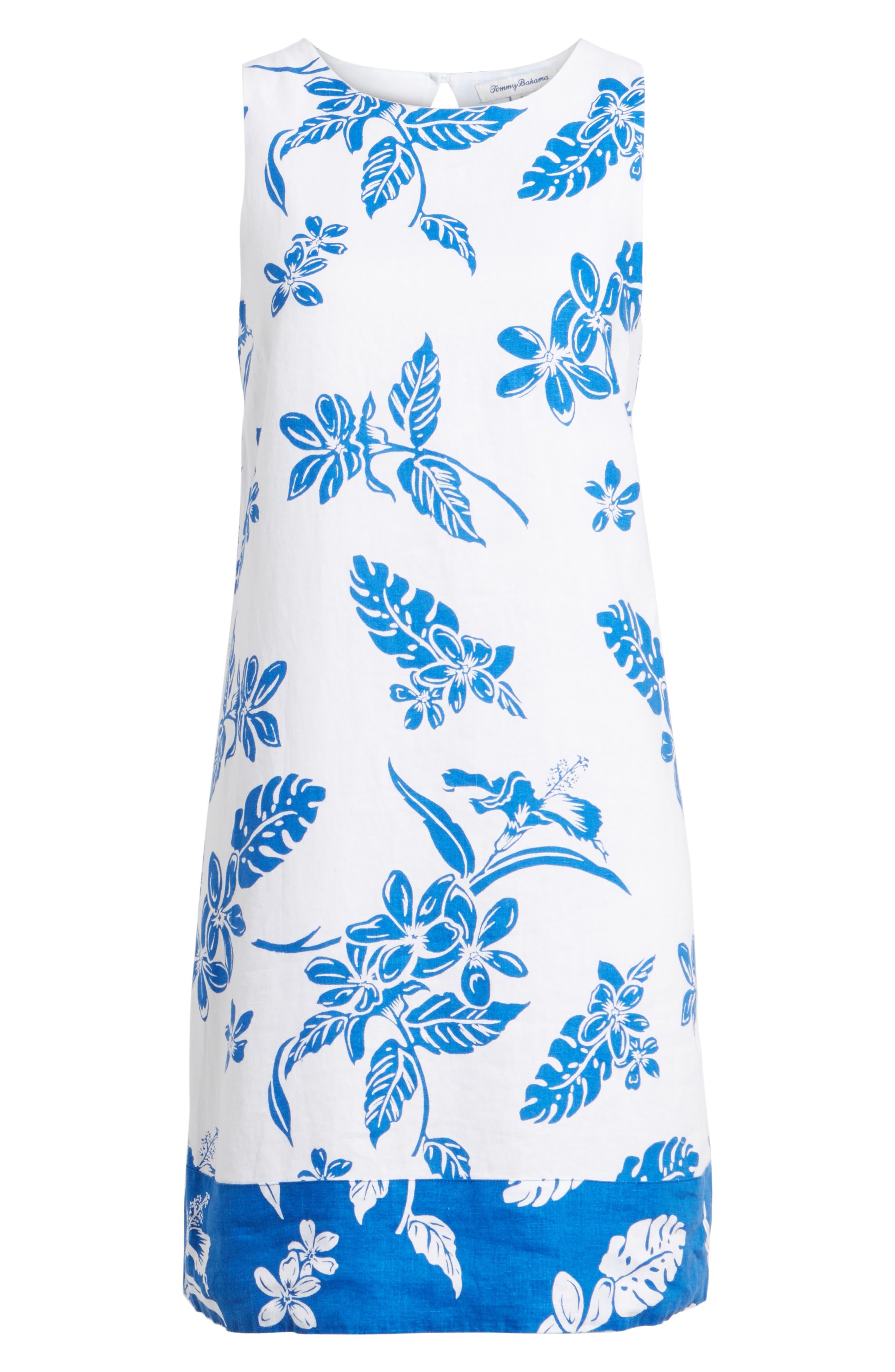 Hibiscus Hiatus Reverse Hem Shift Dress,                             Alternate thumbnail 6, color,                             White/ Cobalt