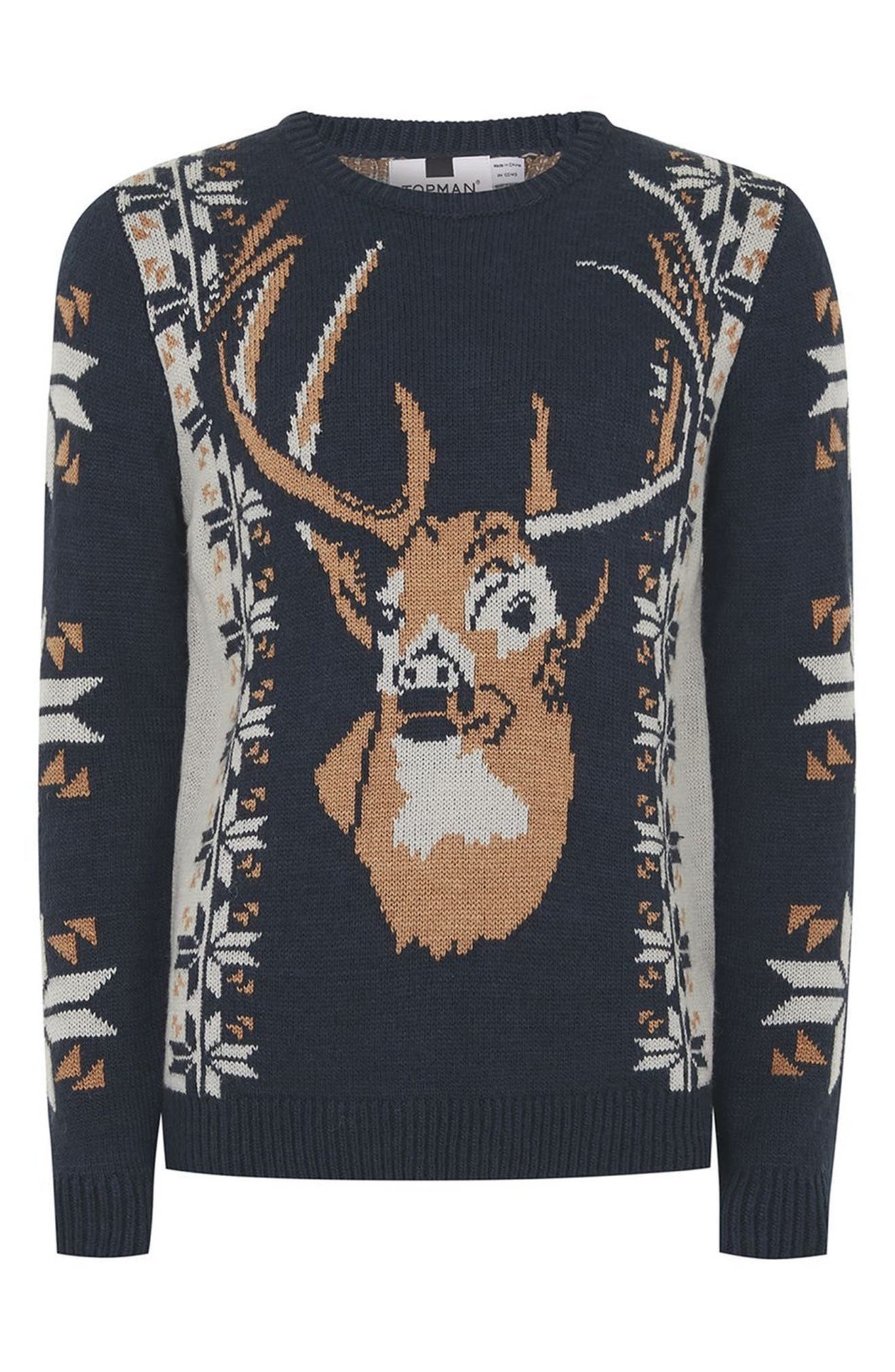Vintage Stag Sweater,                             Alternate thumbnail 4, color,                             Navy Blue Multi