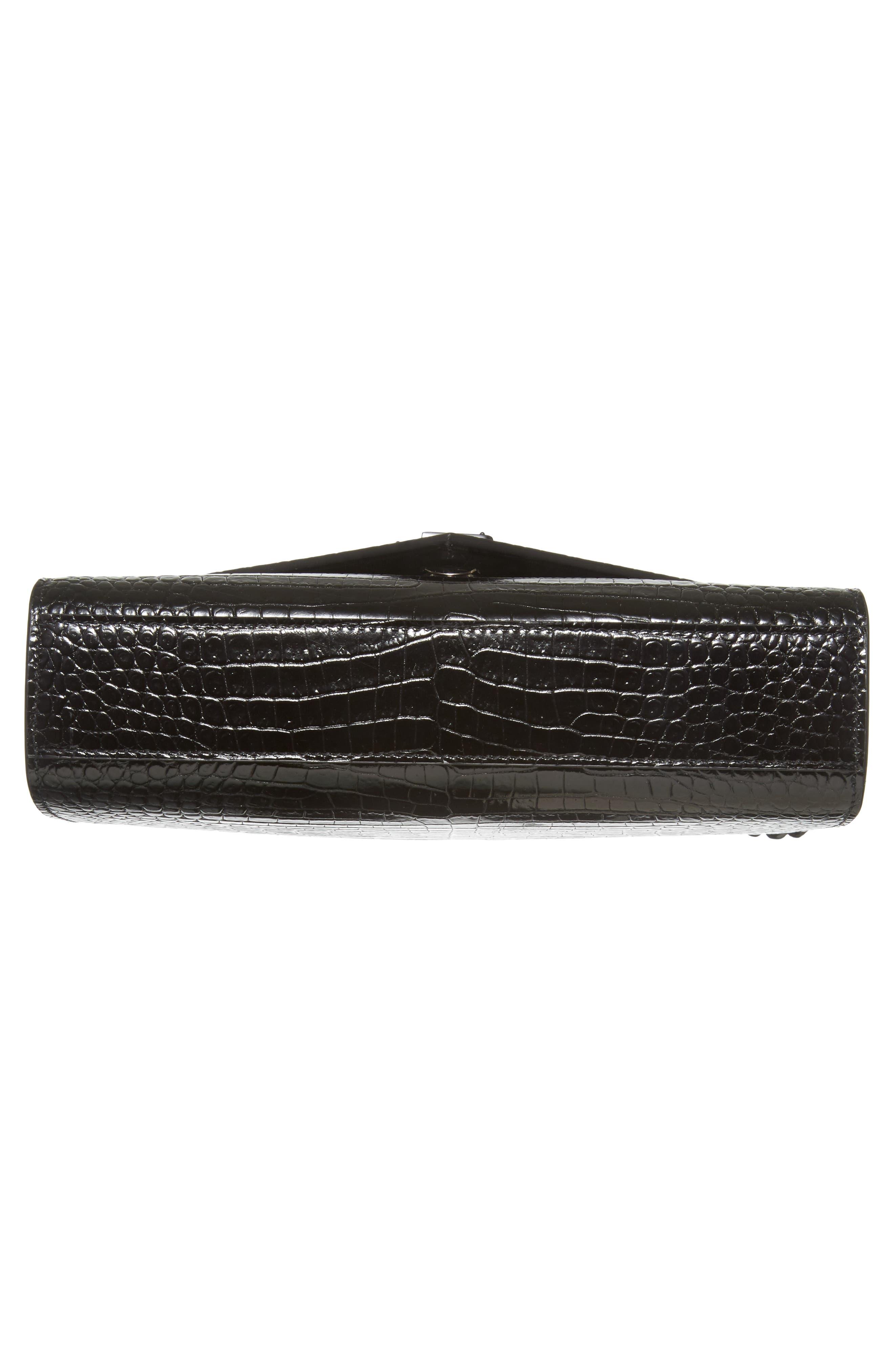 Medium Croc-Embossed Calfskin Shoulder Bag,                             Alternate thumbnail 6, color,                             Noir
