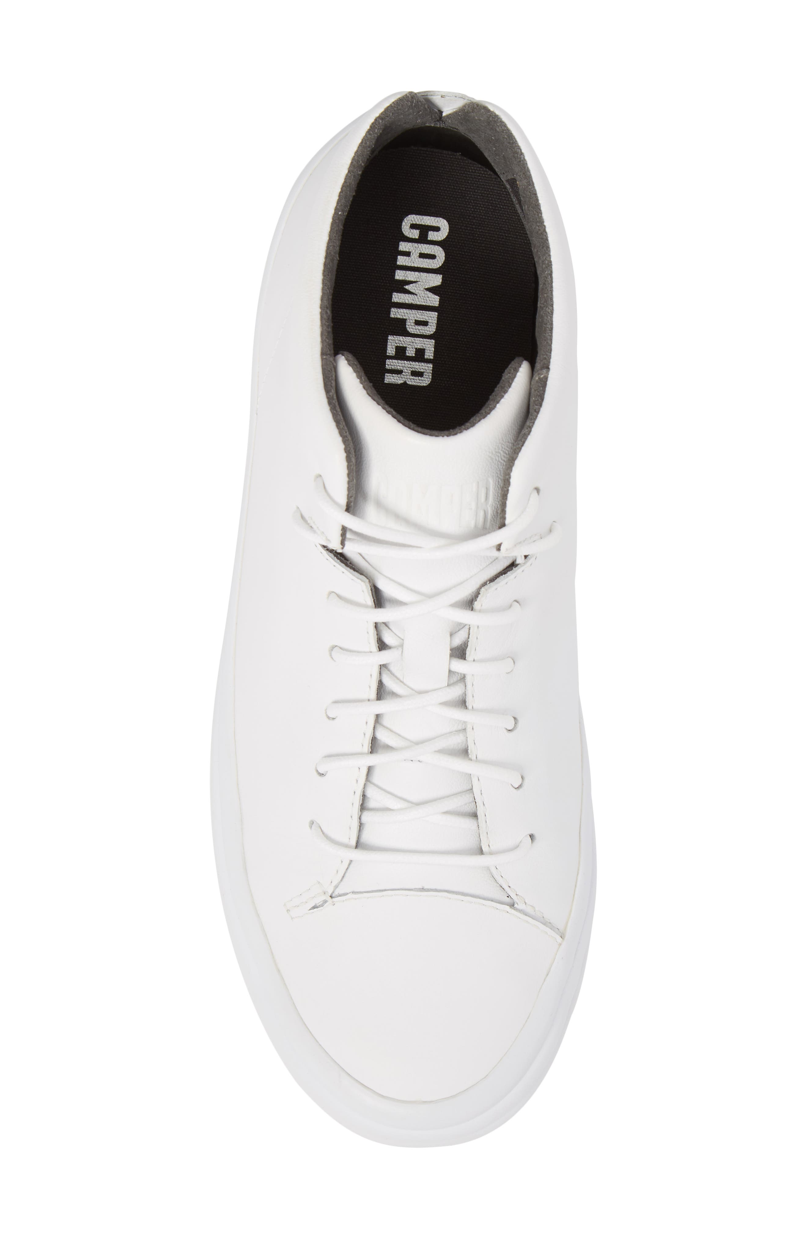 Hoops Mid Top Sneaker,                             Alternate thumbnail 5, color,                             White Natural Leather
