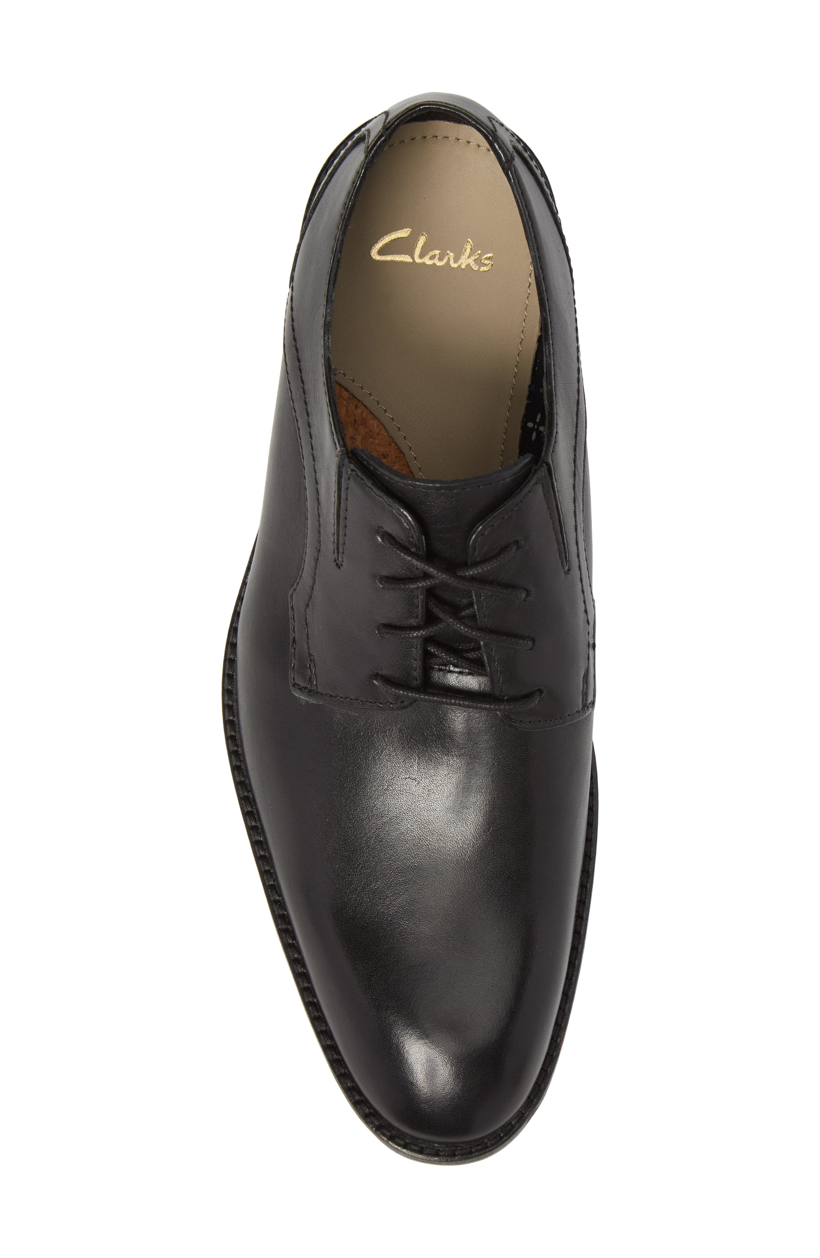 Clarks<sup>®</sup> Prangley Walk Plain Toe Derby,                             Alternate thumbnail 5, color,                             Black Leather