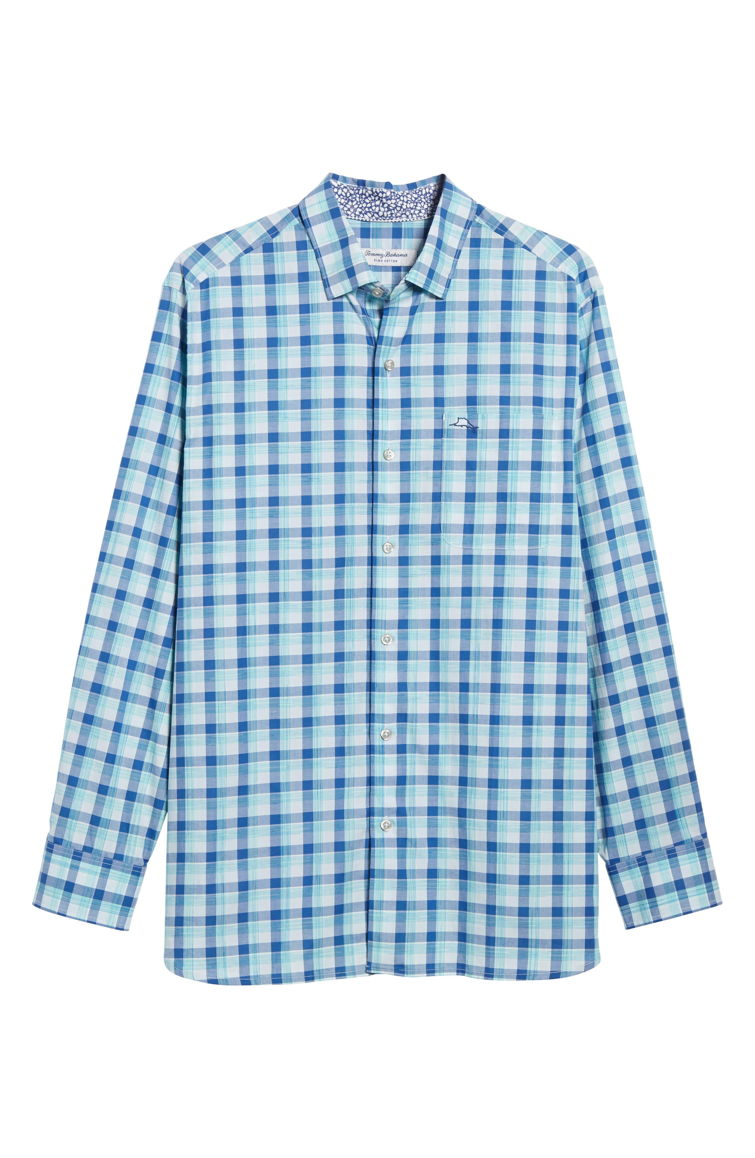 Atlantic Tides Classic Fit Plaid Sport Shirt,                             Alternate thumbnail 6, color,                             Galaxy Blue