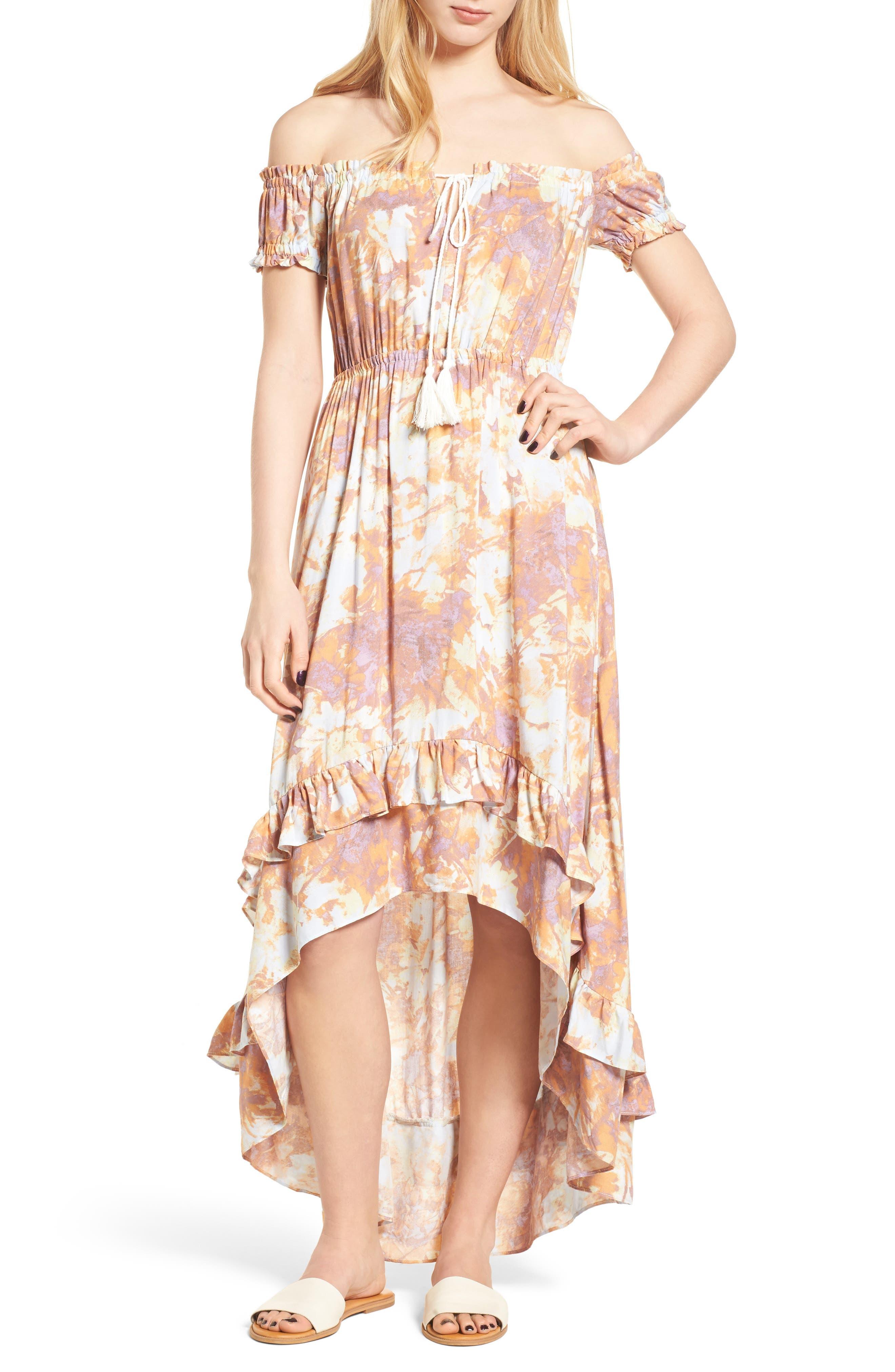 High/Low Hem Off the Shoulder Dress,                         Main,                         color, Pink Desert Long Stem Floral