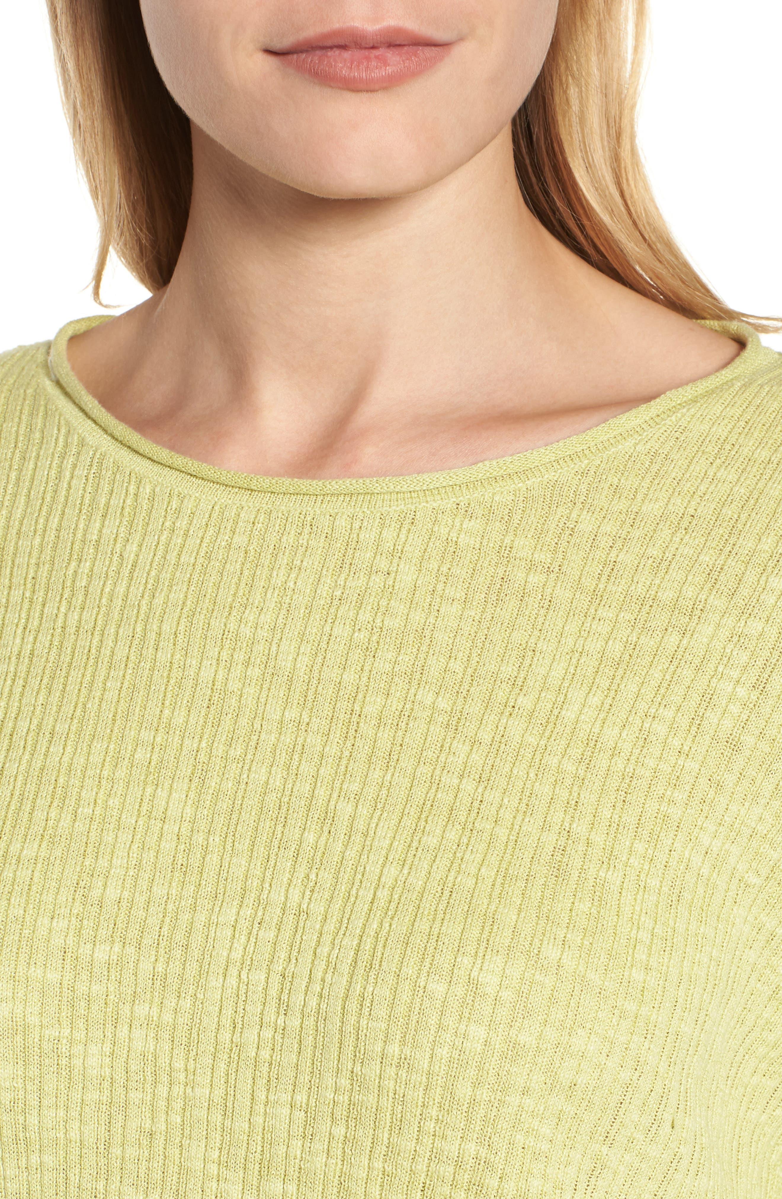 Alternate Image 4  - Eileen Fisher Organic Linen & Cotton Crewneck Sweater (Regular & Petite)