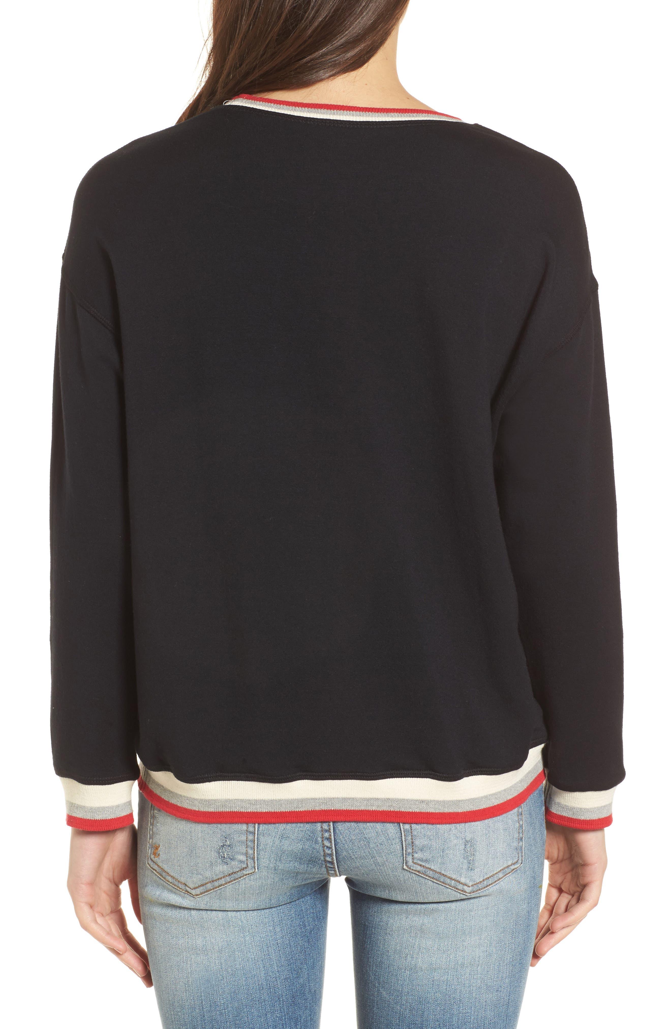 Stripe Trim Pullover,                             Alternate thumbnail 2, color,                             Black