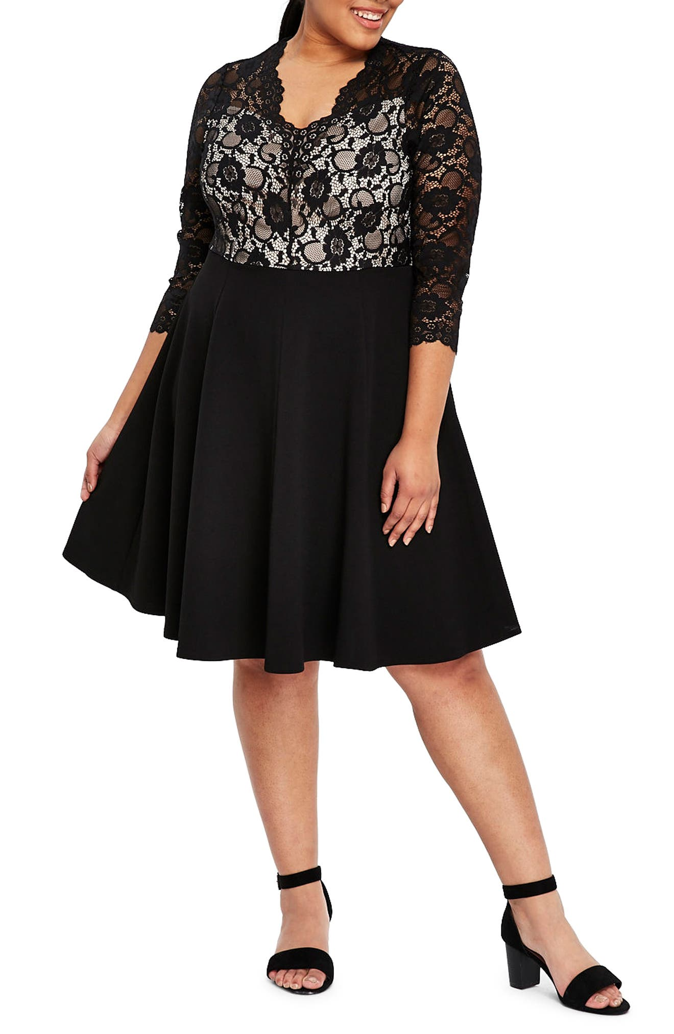 Scallop Lace Fit & Flare Dress,                             Main thumbnail 1, color,                             Black
