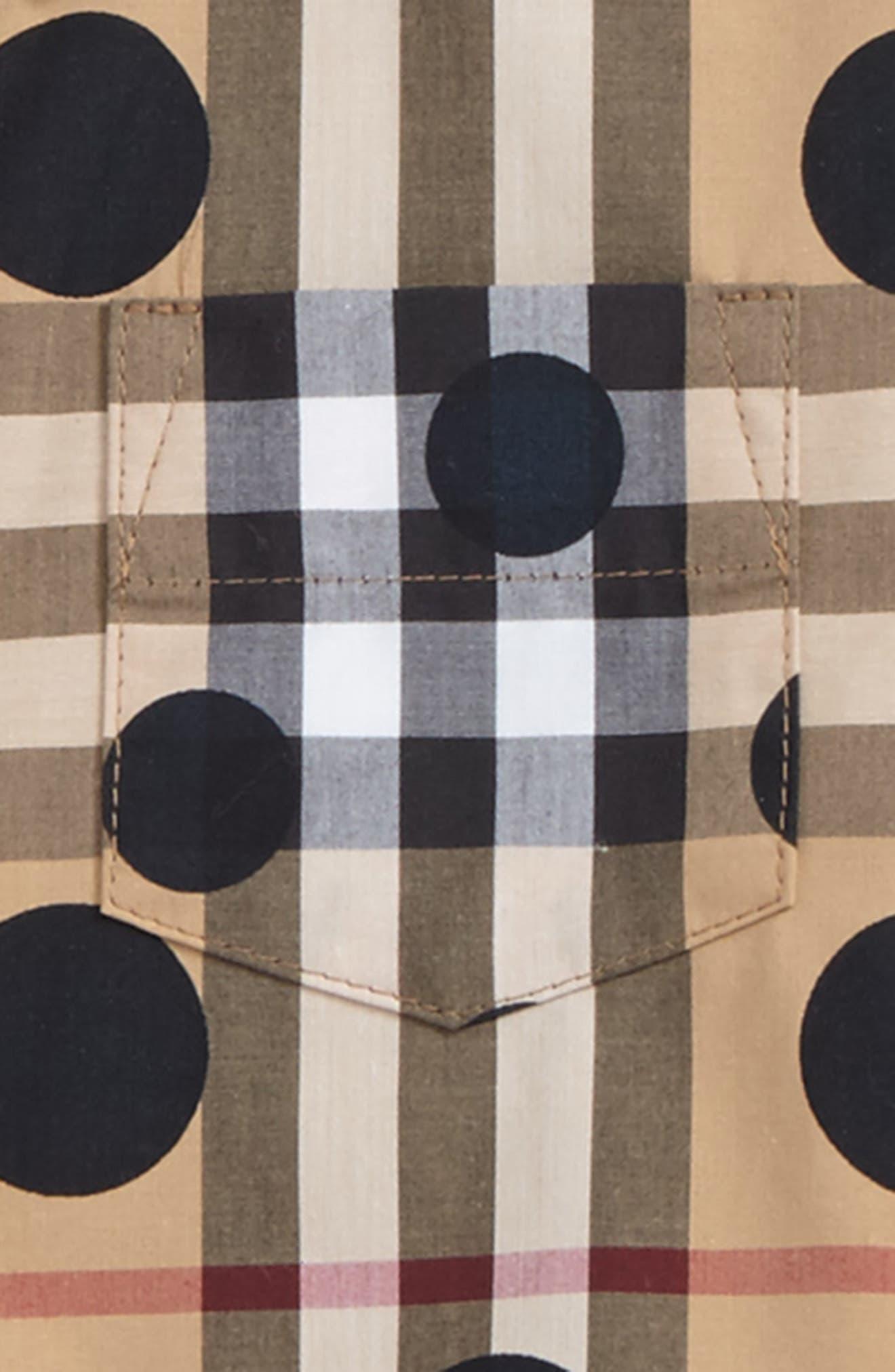 Mini Fred Polka Dot & Check Print Shirt,                             Alternate thumbnail 2, color,                             Beige