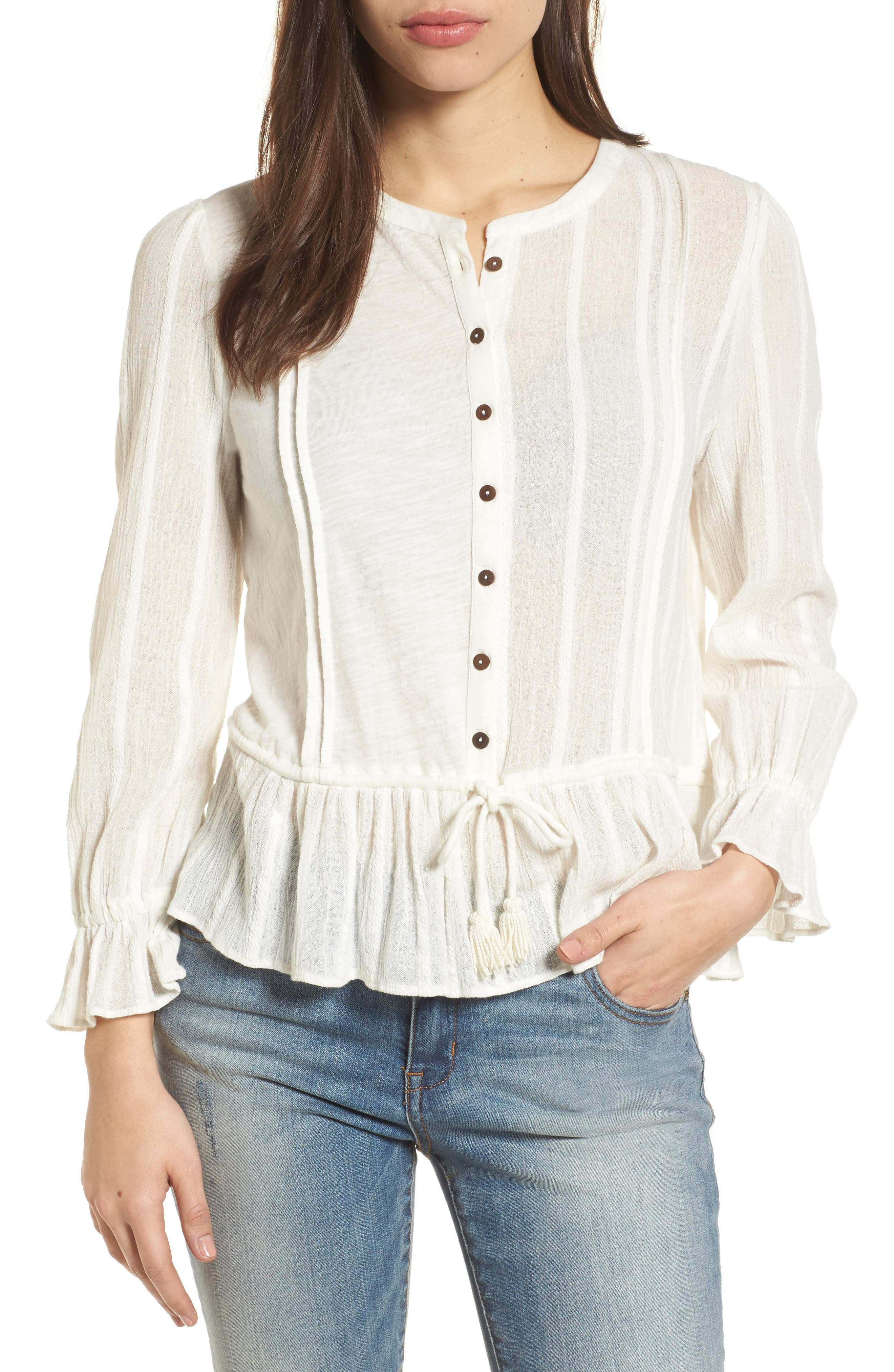 Alternate Image 1 Selected - Lucky Brand Drawstring Peplum Top