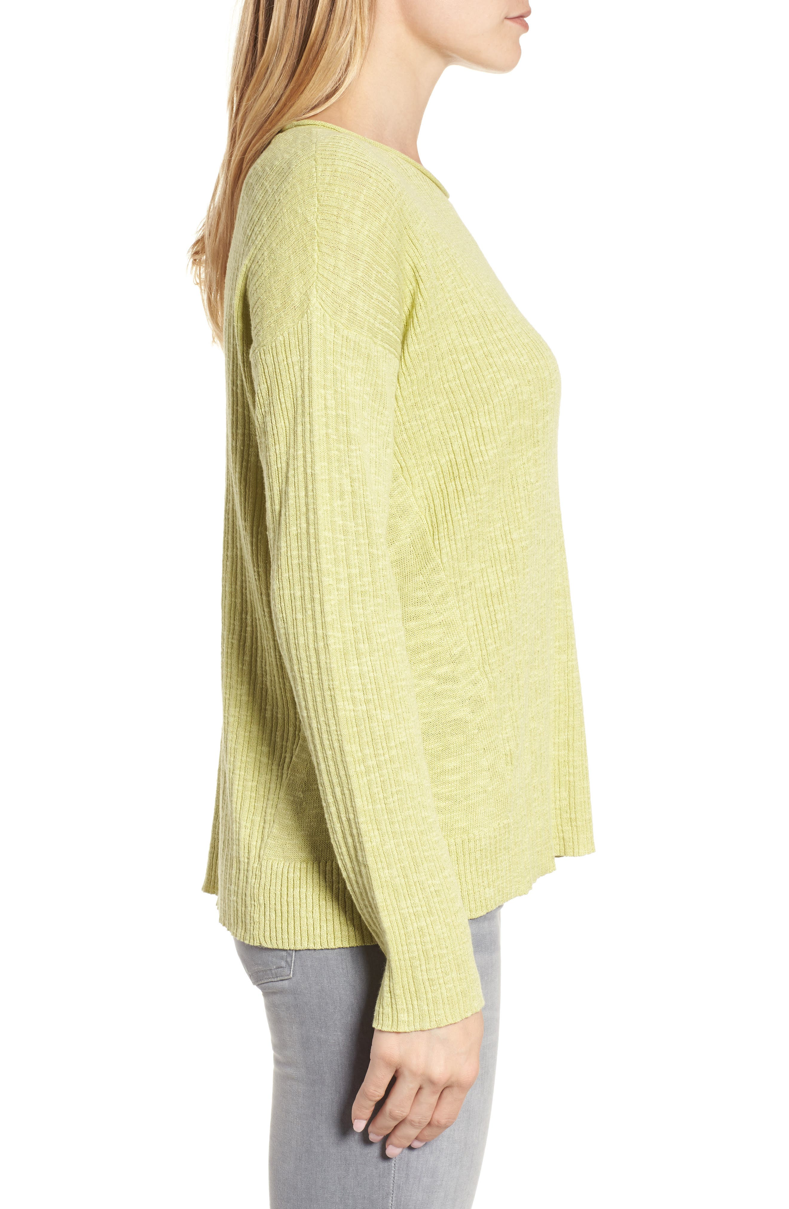 Alternate Image 3  - Eileen Fisher Organic Linen & Cotton Crewneck Sweater (Regular & Petite)