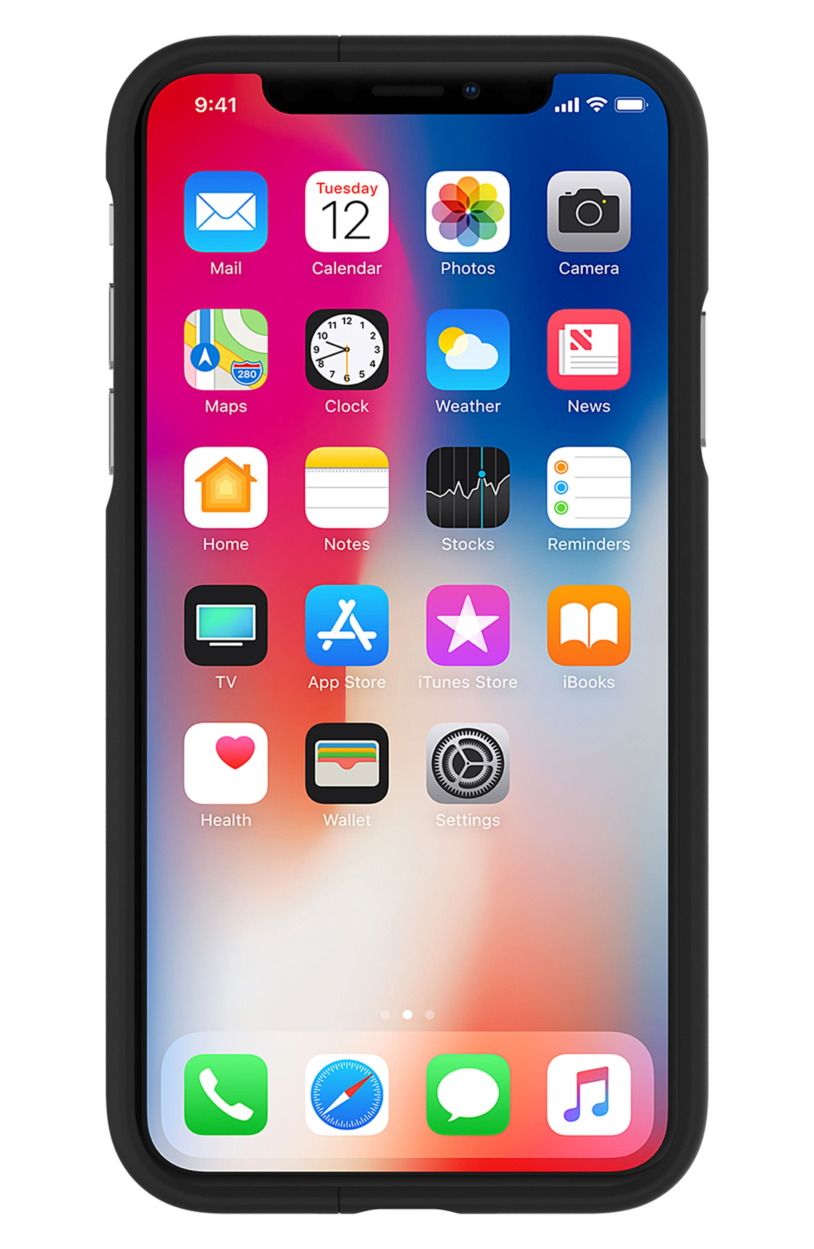 Vertical Slider iPhone X Case,                             Alternate thumbnail 2, color,                             Black Gunmetal