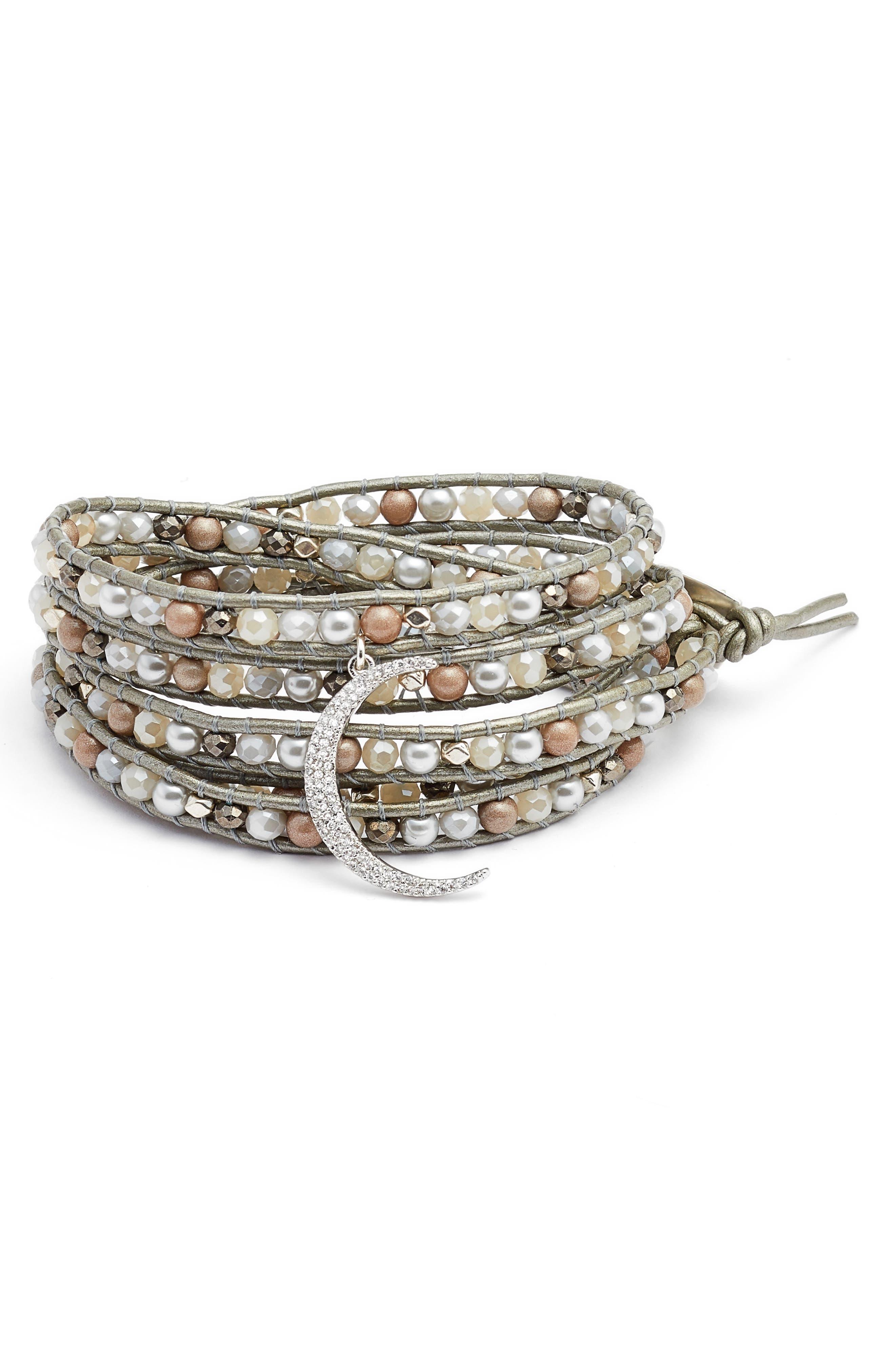 Crystal Charm Wrap Bracelet,                         Main,                         color, Grey