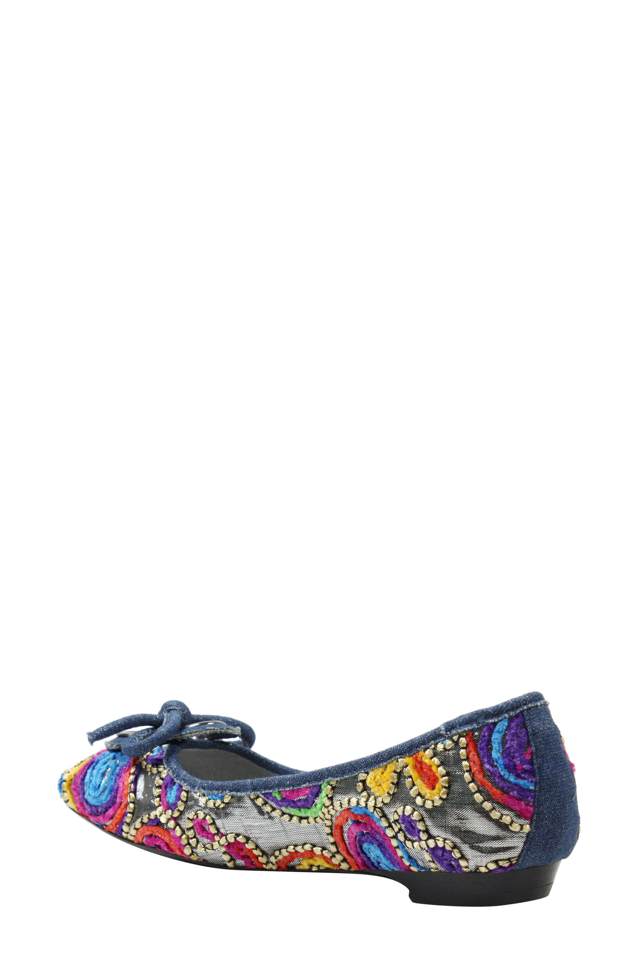 'Edie' Skimmer Flat,                             Alternate thumbnail 2, color,                             Silver/ Bright Fabric