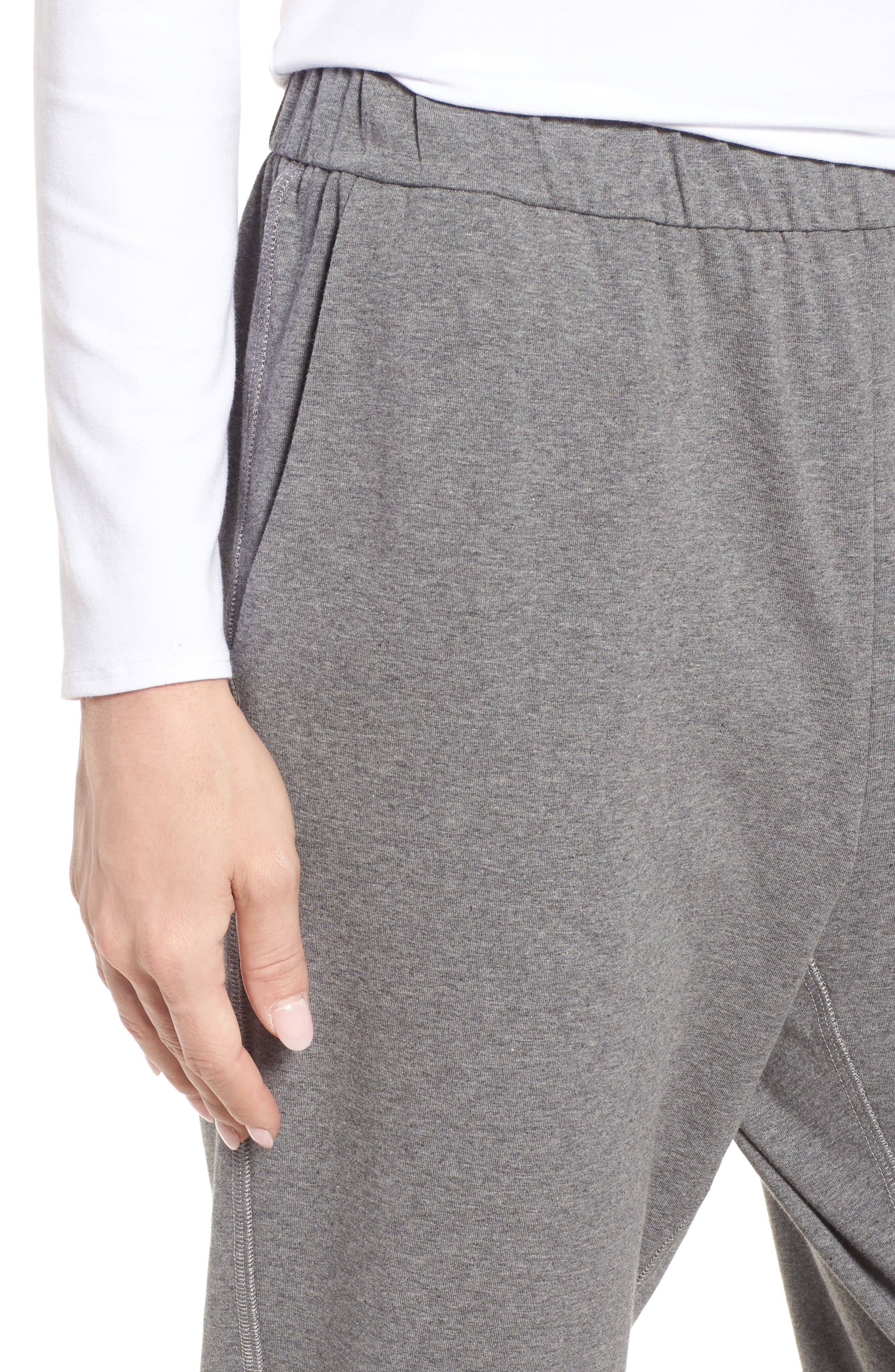 Organic Cotton Jersey Crop Pants,                             Alternate thumbnail 4, color,                             Grey