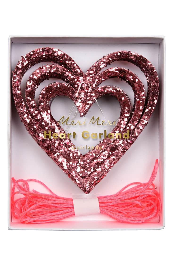 Glitter Heart Garland