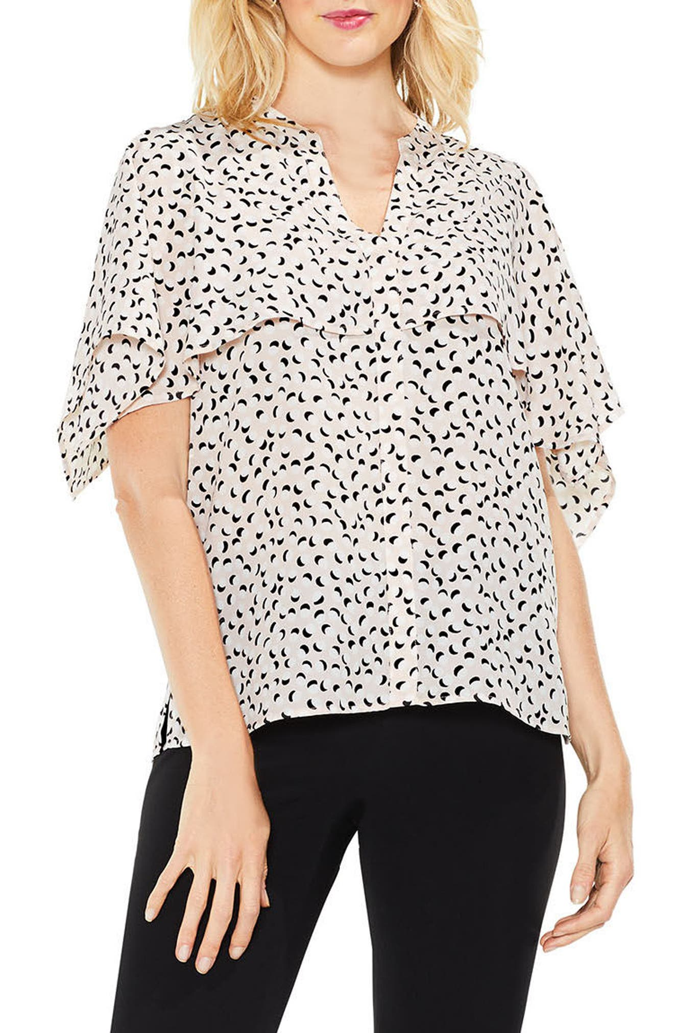Main Image - Vince Camuto Cape Overlay Flutter Top