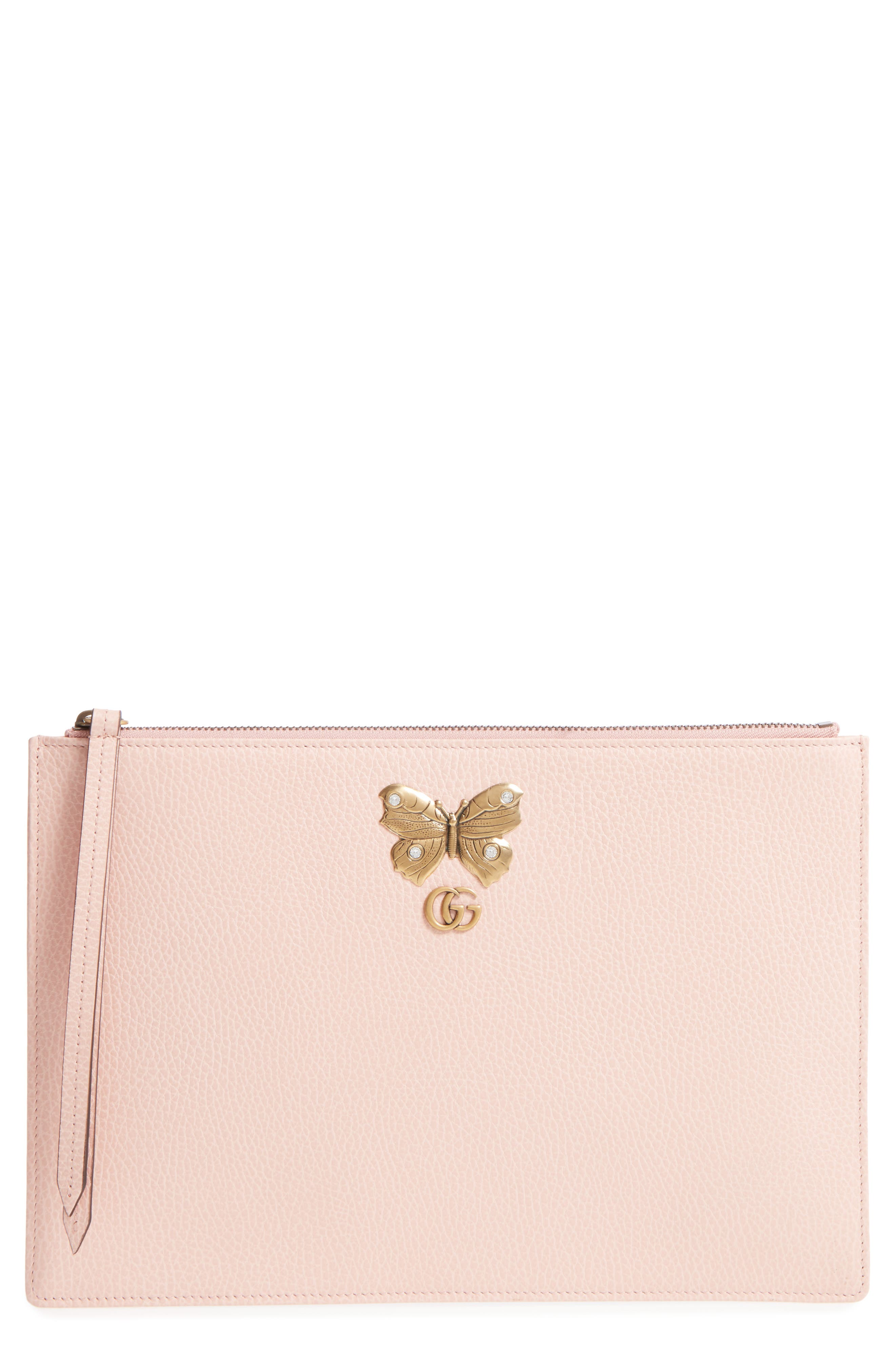 Linea Farfalla Leather Pouch,                         Main,                         color, Perfect Pink/ Crystal