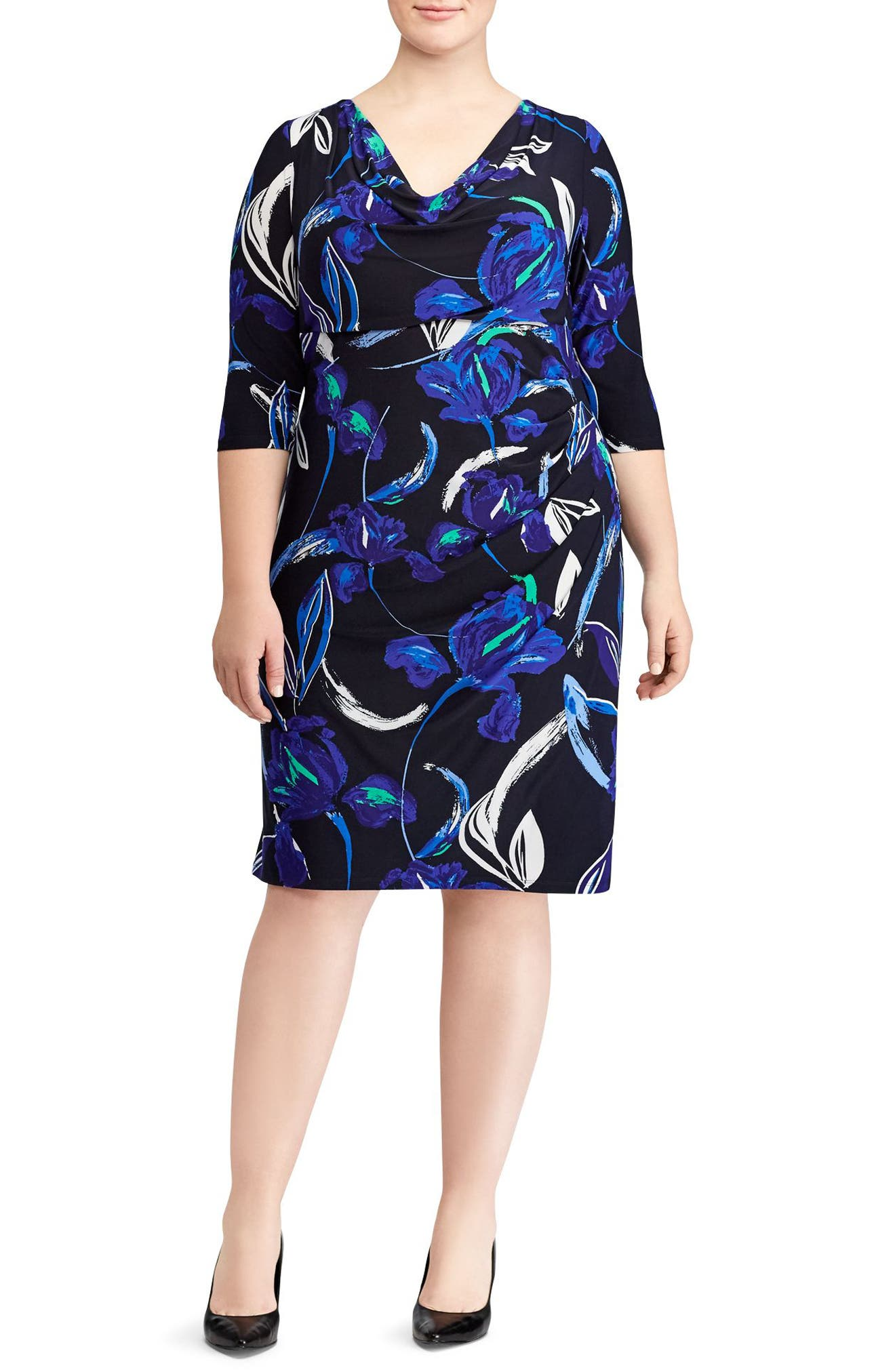 Alternate Image 1 Selected - Lauren Ralph Lauren Carleton Zagora Floral Sheath Dress (Plus Size)