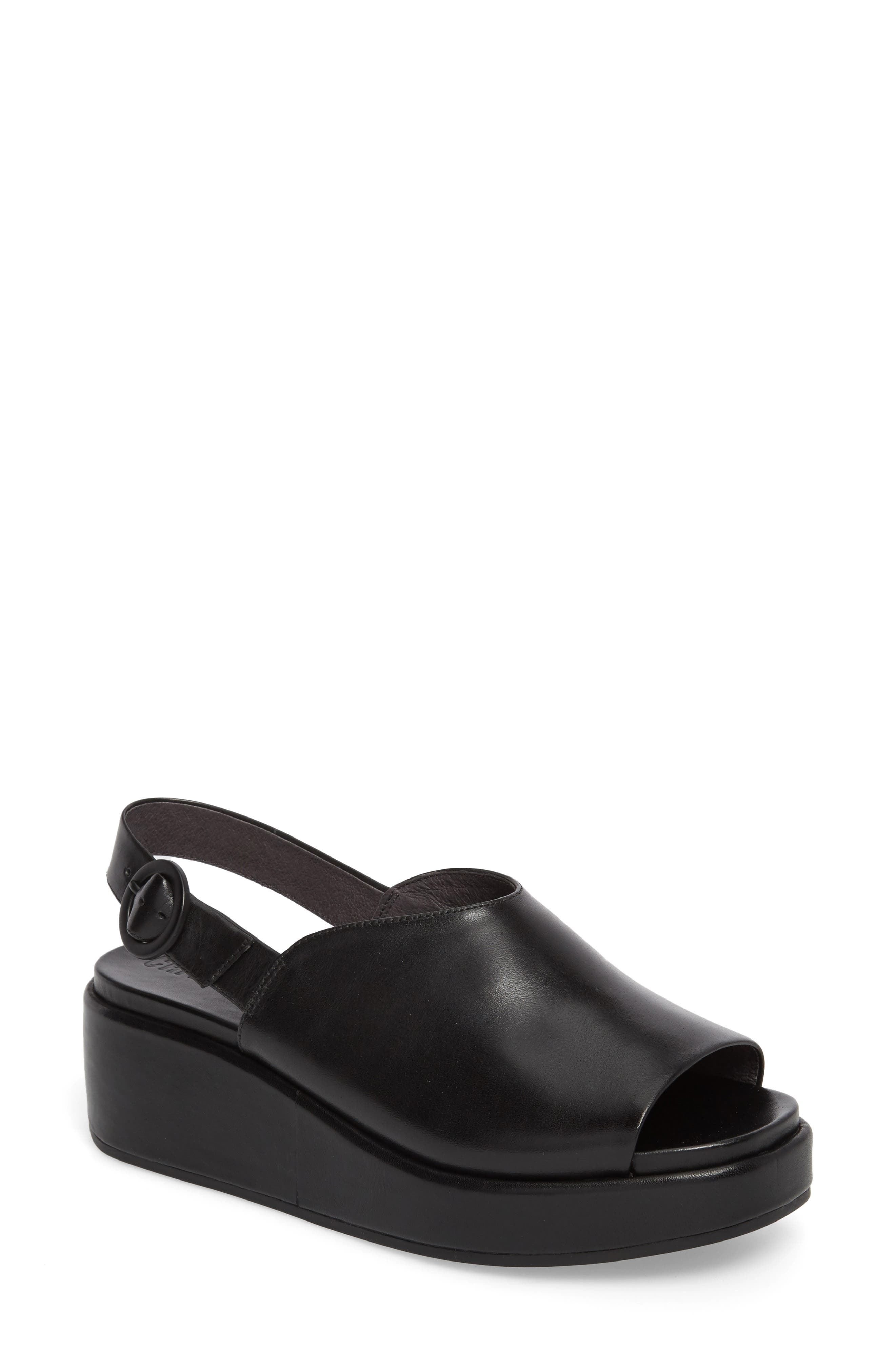 Misia Slingback Platform Wedge Sandal,                         Main,                         color, Black Leather