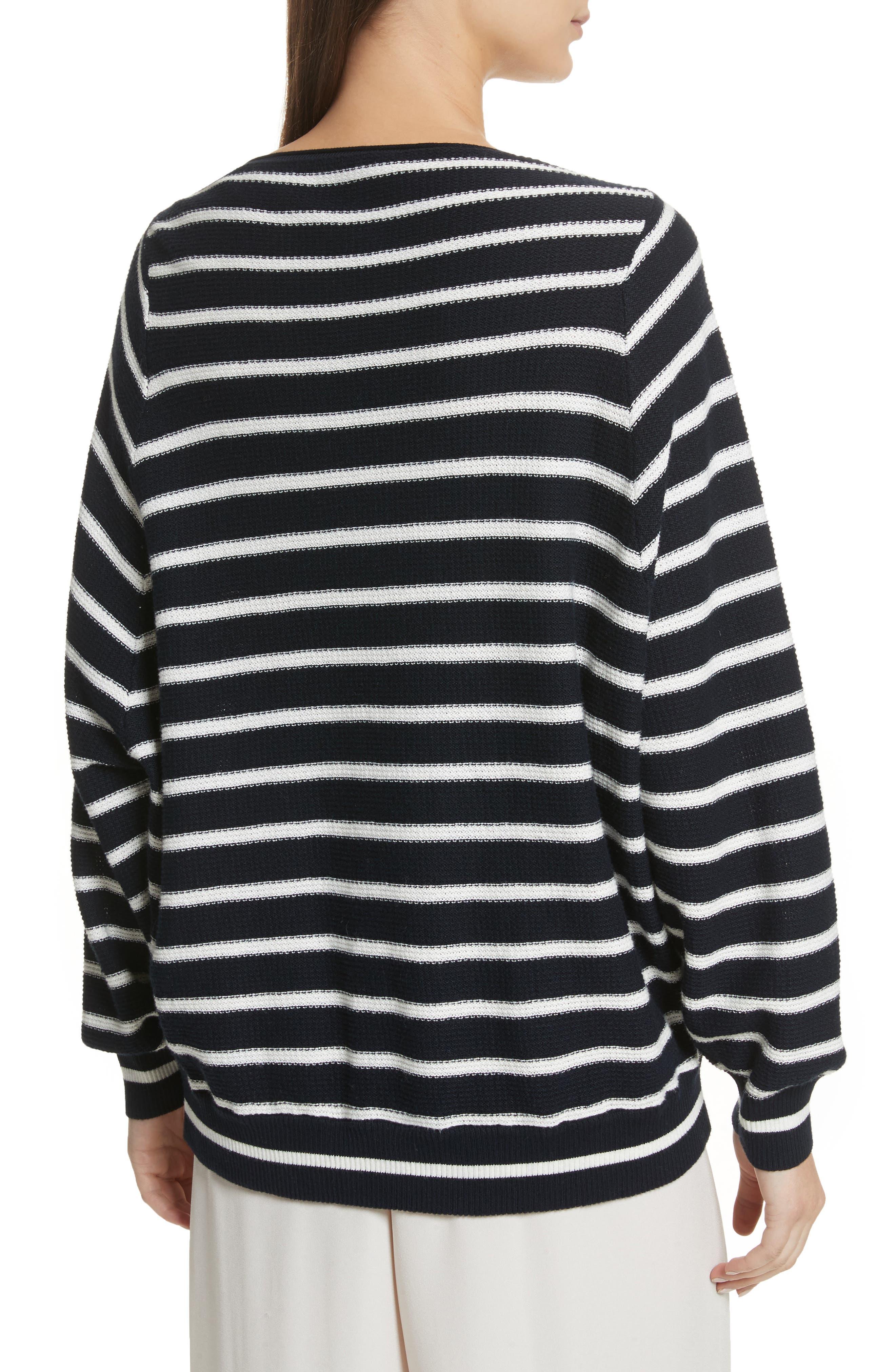 Stripe Waffle Knit Top,                             Alternate thumbnail 2, color,                             Coastal/ Optic White