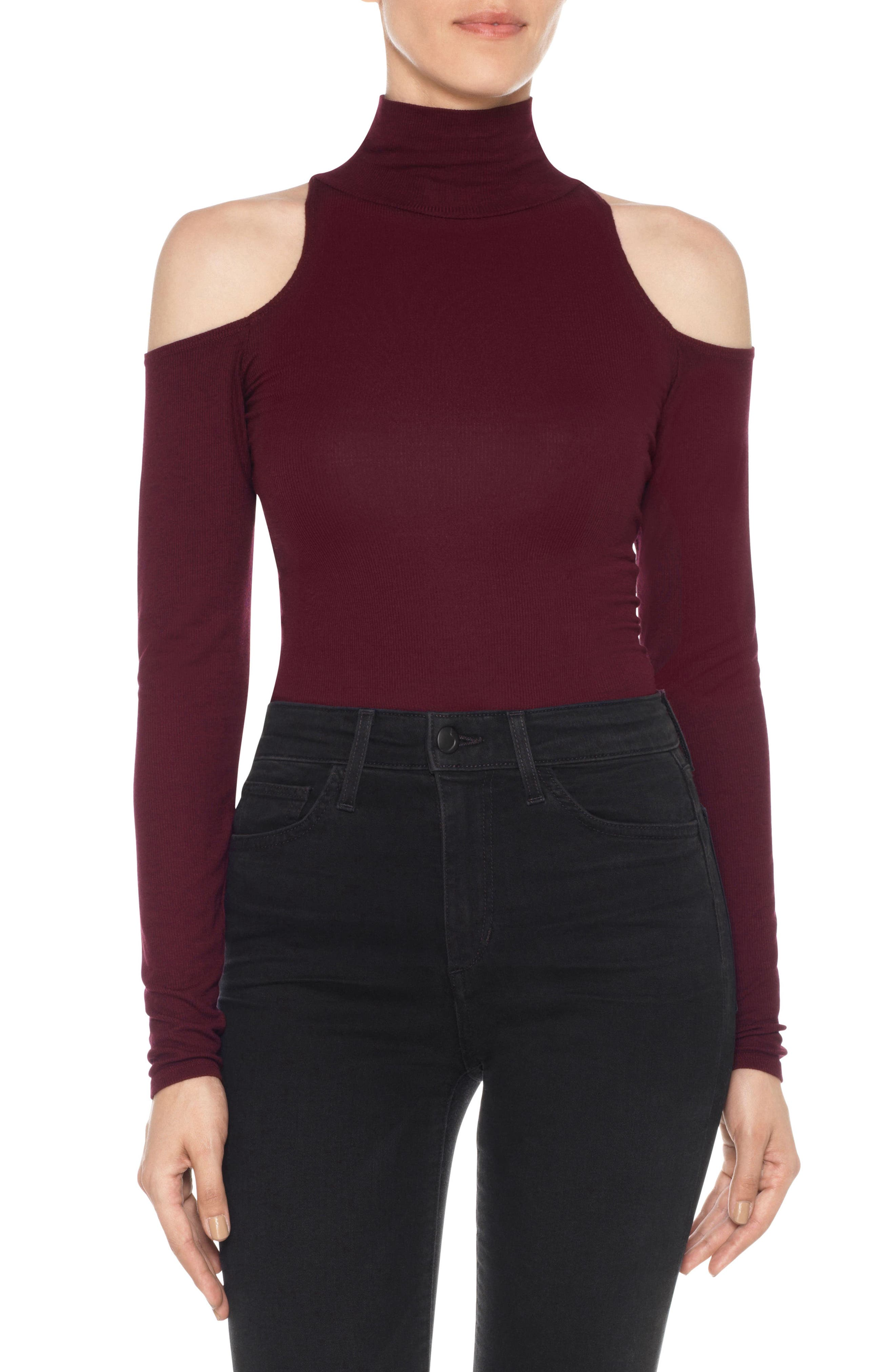 Olivia Cold Shoulder Ribbed Turtleneck,                         Main,                         color, Vin Rouge