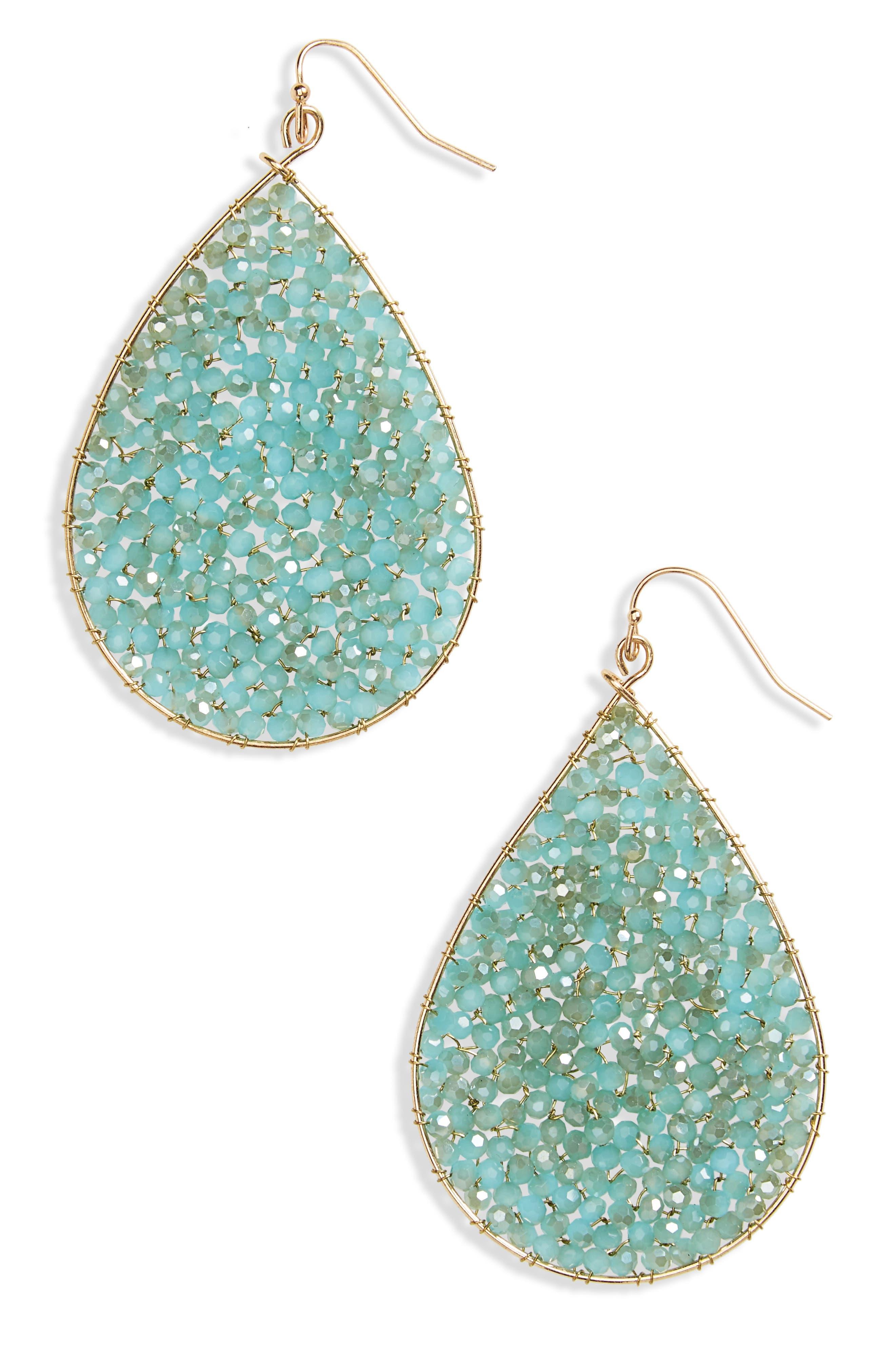Crystal Teardrop Earrings,                         Main,                         color, Mint