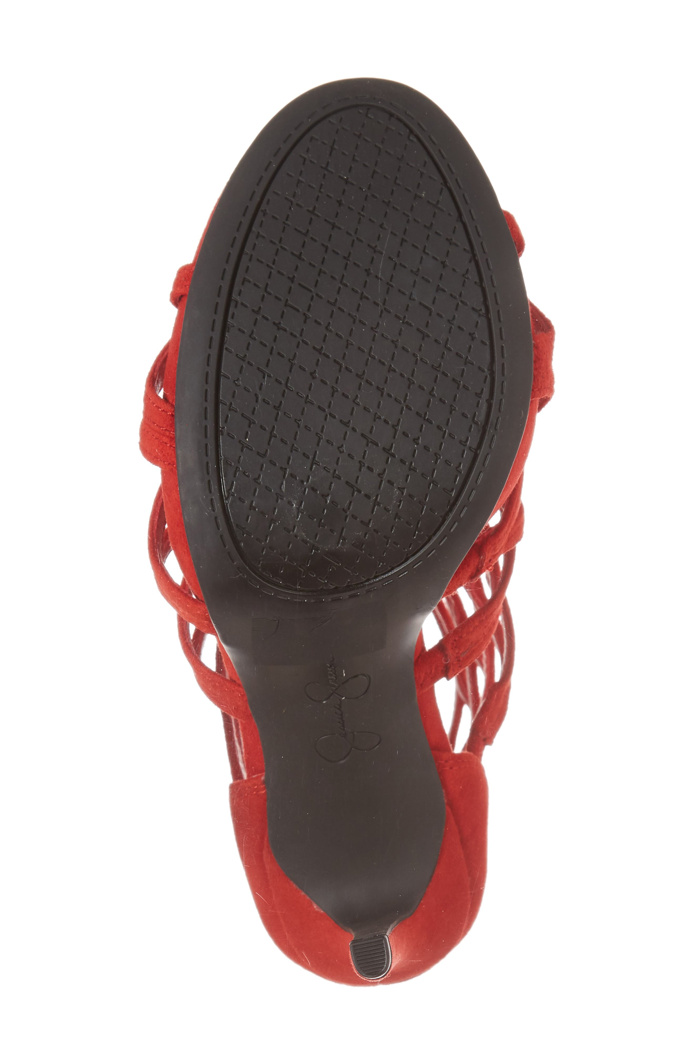 Razella Cage Sandal,                             Alternate thumbnail 6, color,                             Red Muse Suede