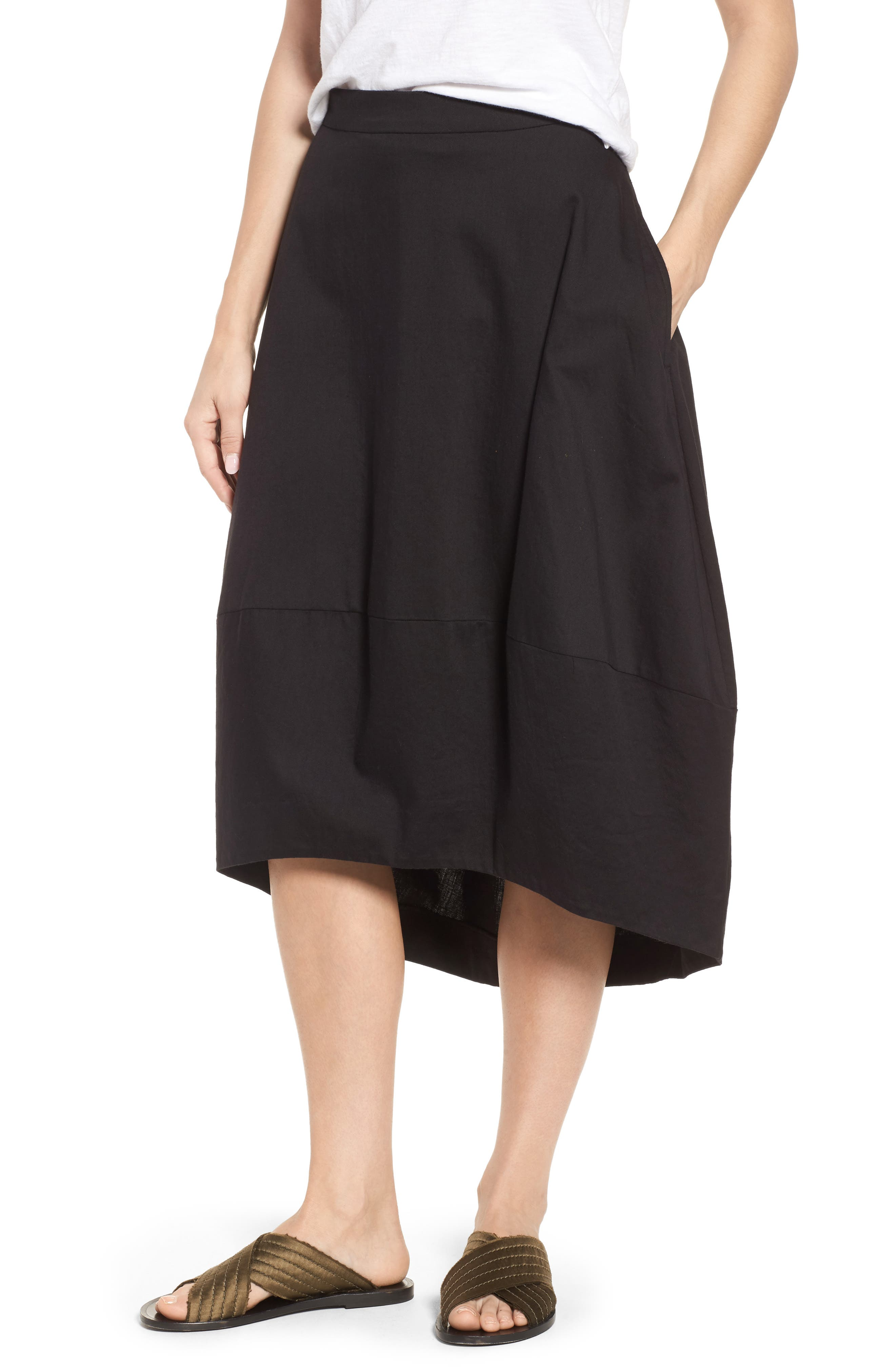 Organic Cotton Lantern Skirt,                         Main,                         color, Black