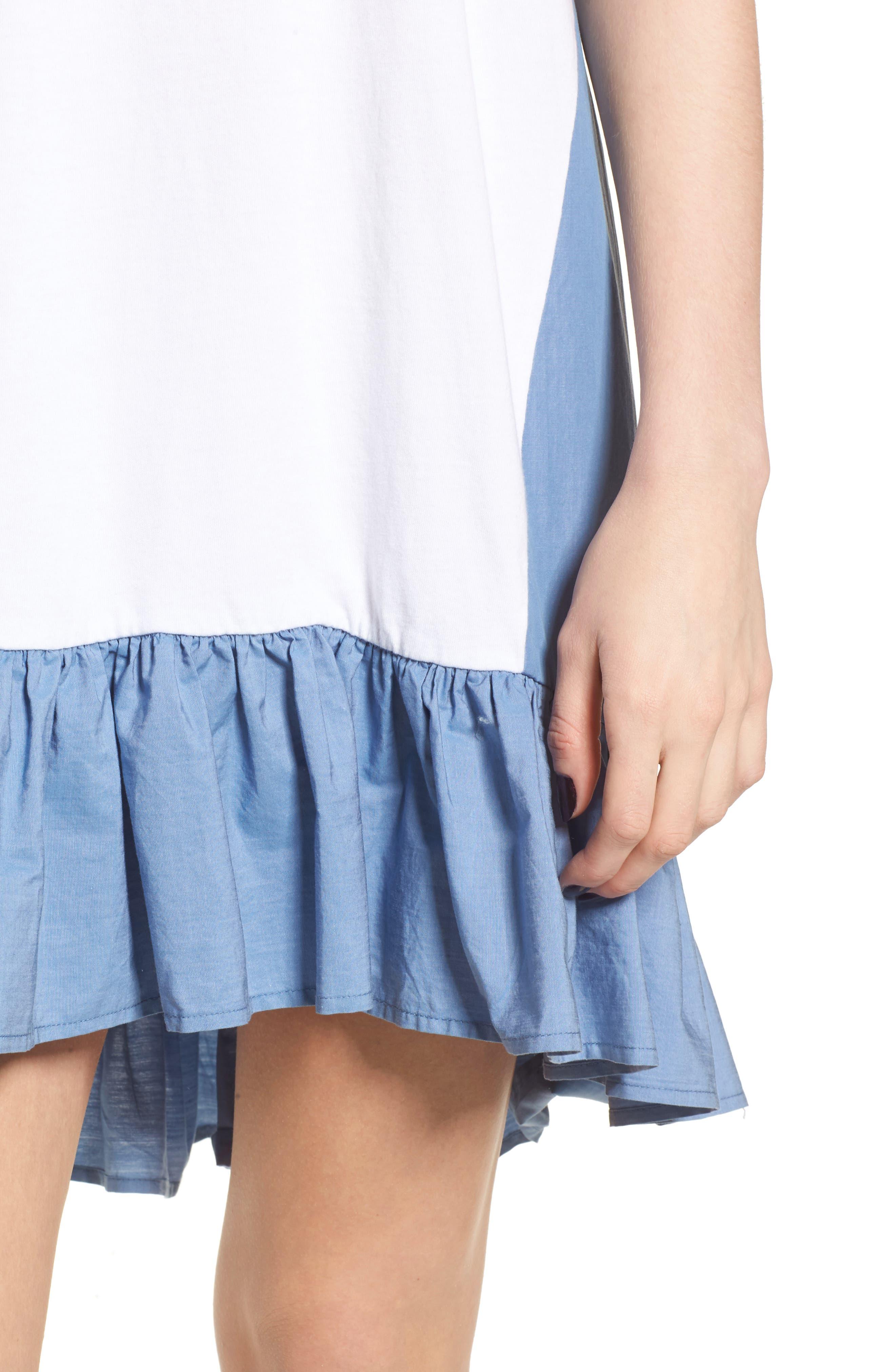 Mixed Media T-Shirt Dress,                             Alternate thumbnail 4, color,                             White