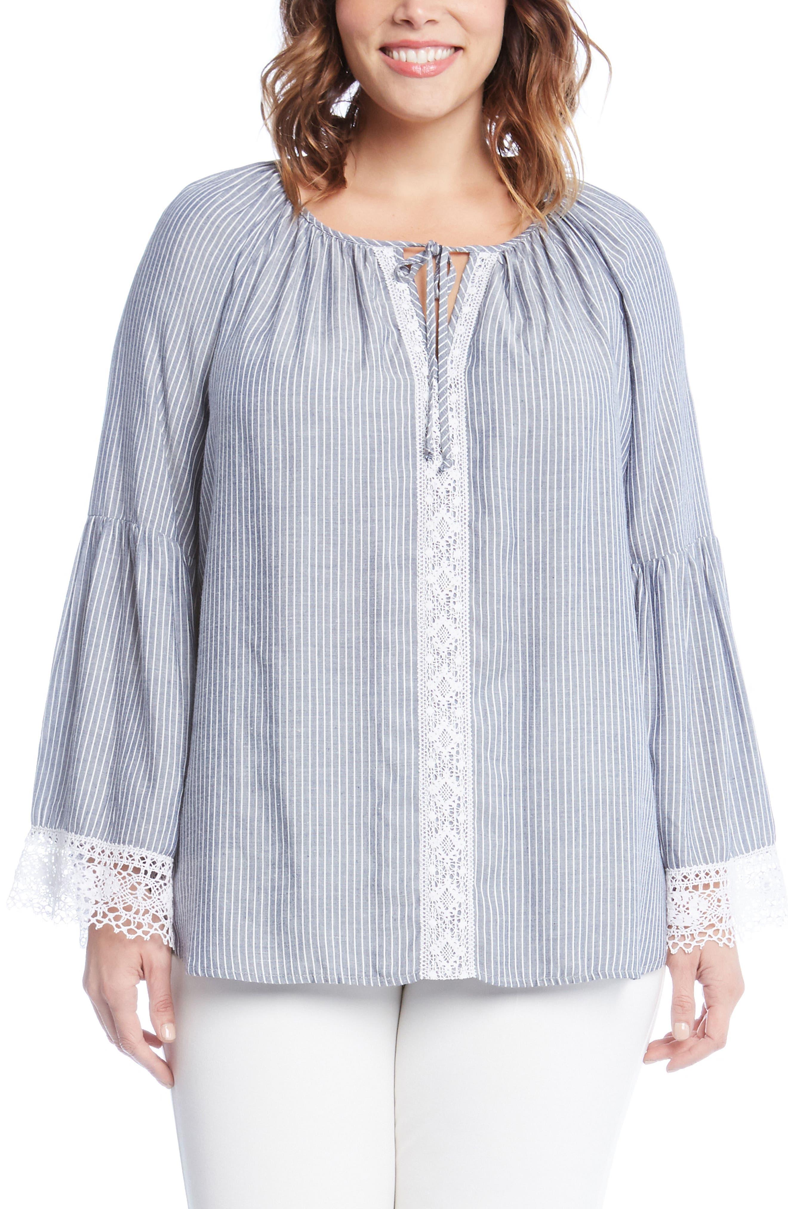 Karen Kane Lace Peasant Top (Plus Size)
