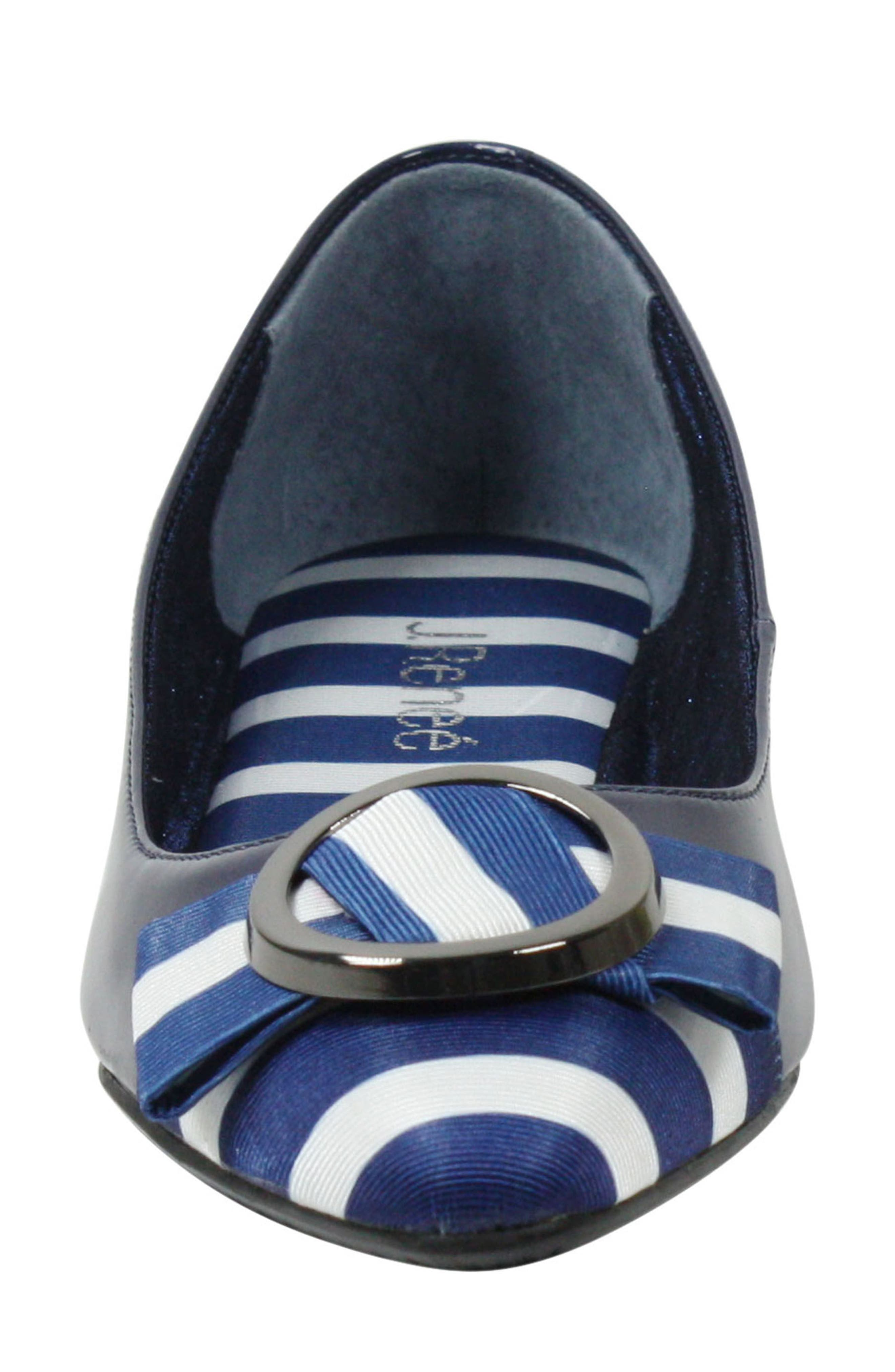 Bessee Flat,                             Alternate thumbnail 4, color,                             Navy/ White Faux Leather