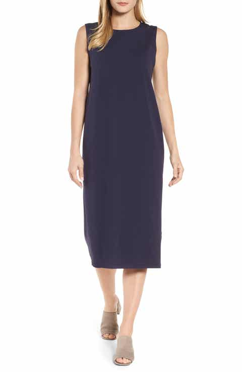 Eileen Fisher Stretch Organic Cotton Midi Dress (Regular & Petite)