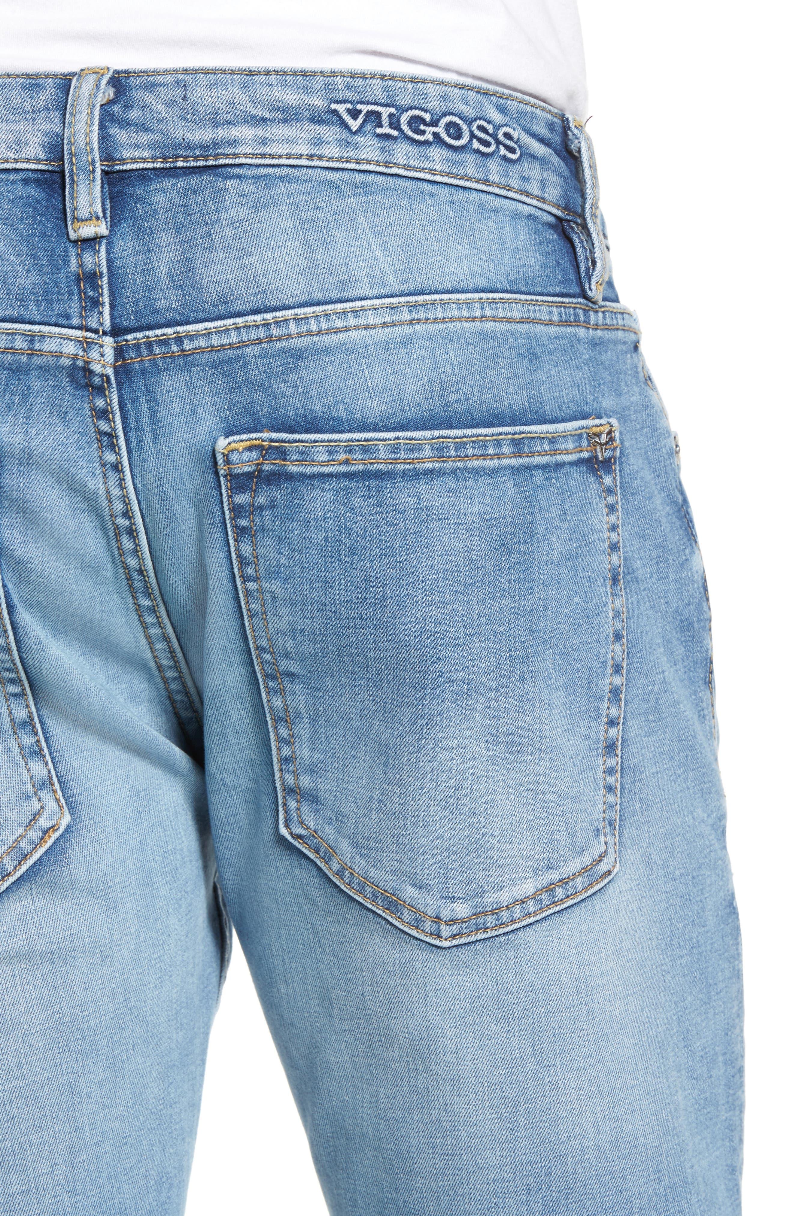 Alternate Image 4  - Vigoss Slim Straight Leg Jeans (Light Wash)