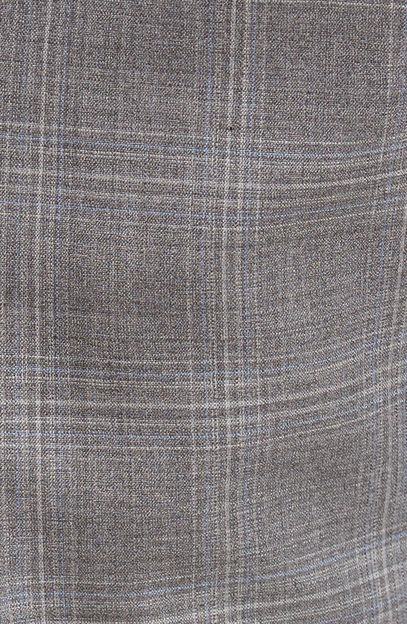 Devon Flat Front Plaid Wool Trousers,                             Alternate thumbnail 5, color,                             Light Grey
