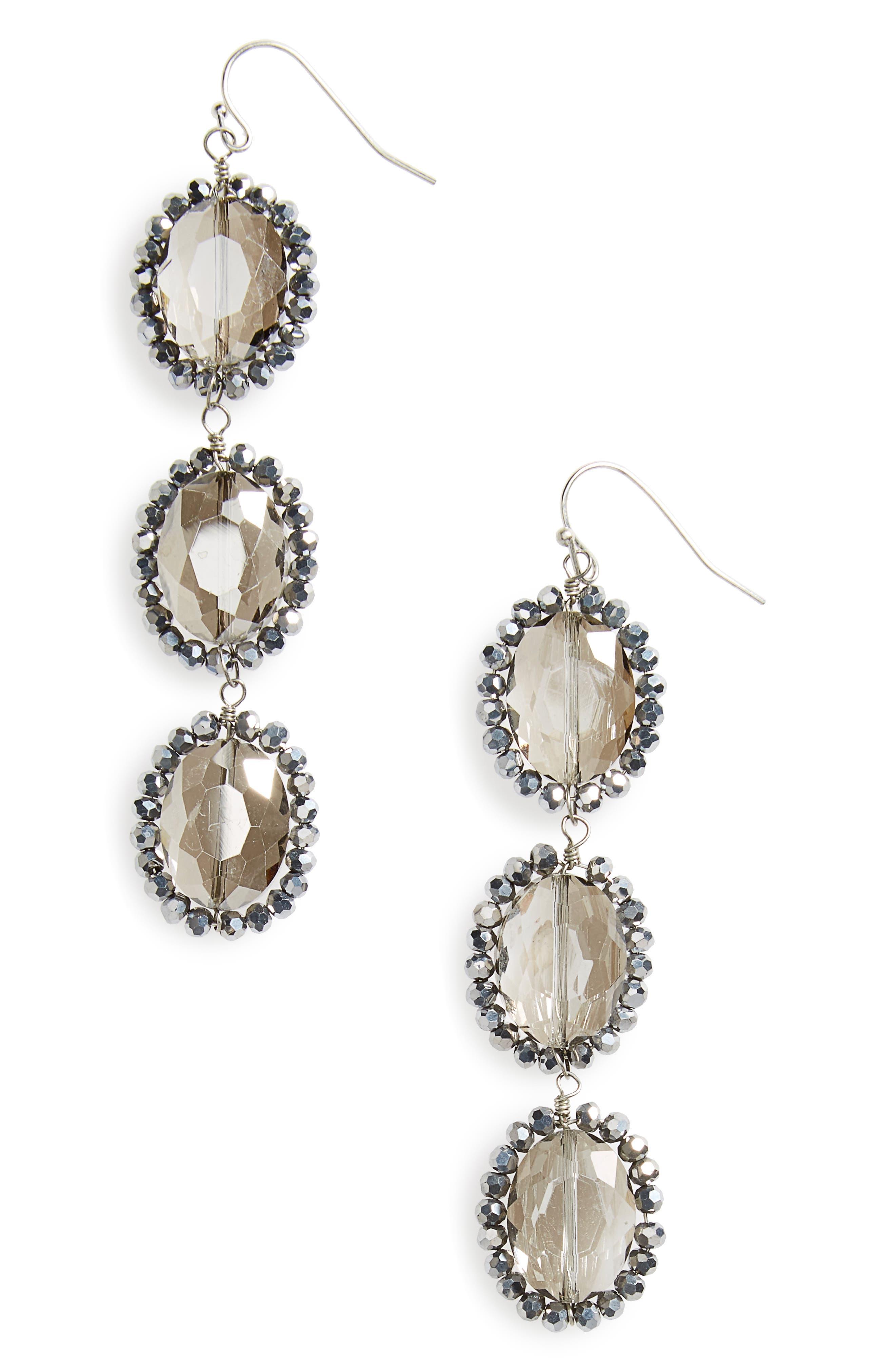 Smoky Crystal Drop Earrings,                             Main thumbnail 1, color,                             Smokey