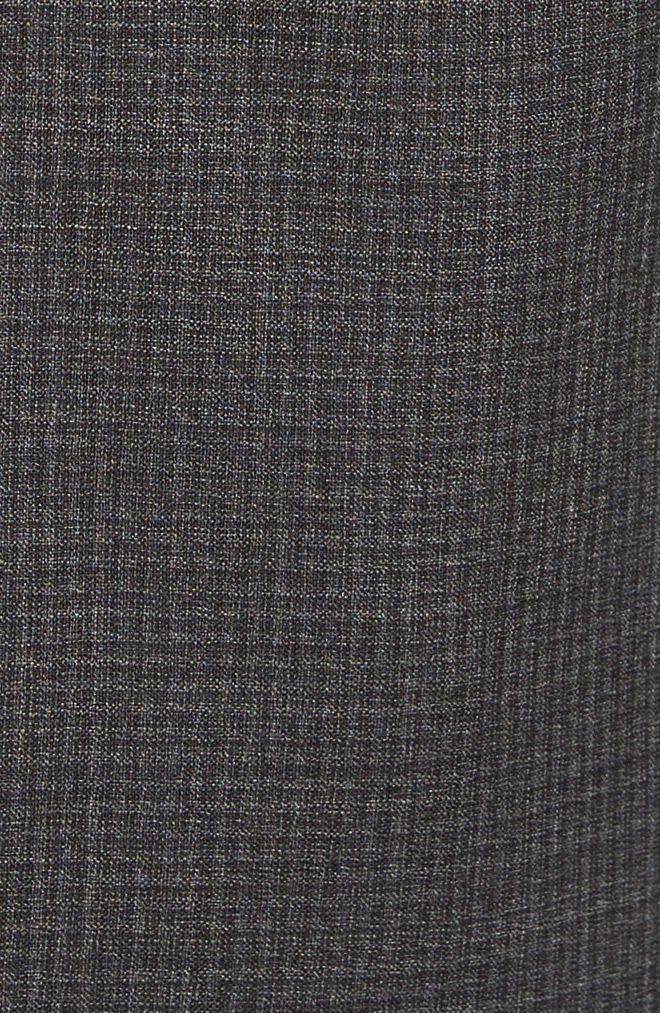 Devon Flat Front Check Wool Trousers,                             Alternate thumbnail 5, color,                             Dark Grey