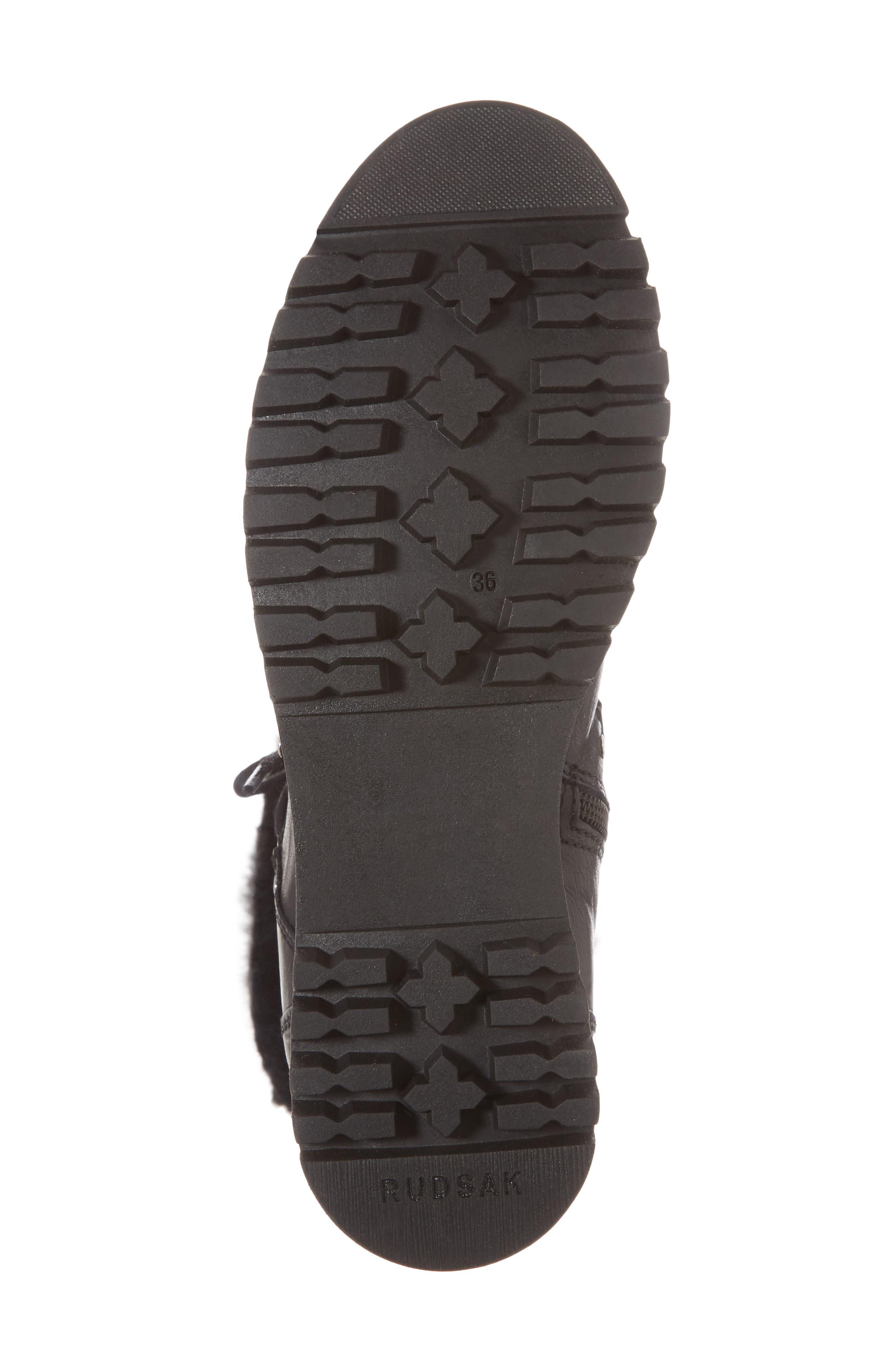 Tellurian Genuine Rabbit Fur Cuff Boot,                             Alternate thumbnail 6, color,                             Black Leather