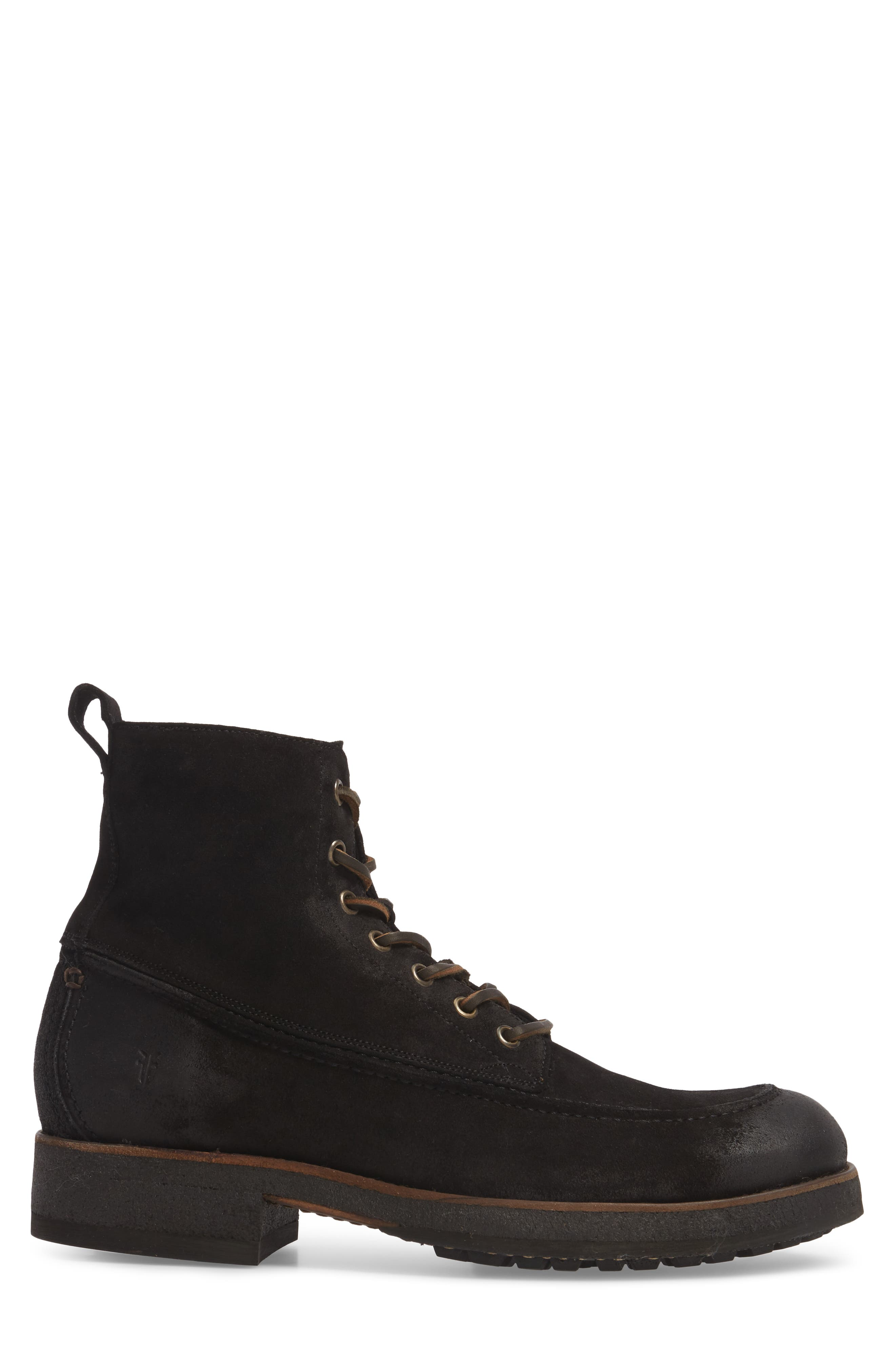 Rainier Waxed Work Boot,                             Alternate thumbnail 3, color,                             Black Waxed Suede