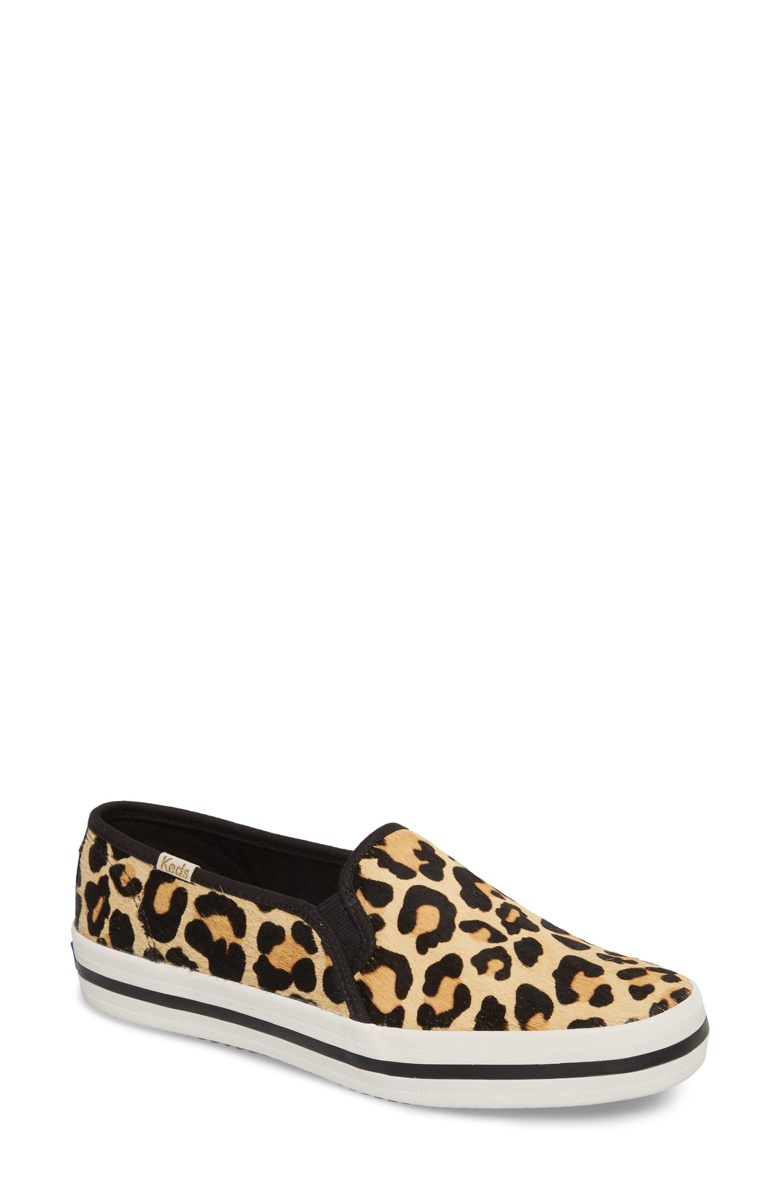 Keds<sup>®</sup> x kate spade Double Decker Slip-On Sneaker,                             Main thumbnail 1, color,                             Tan Pony Hair