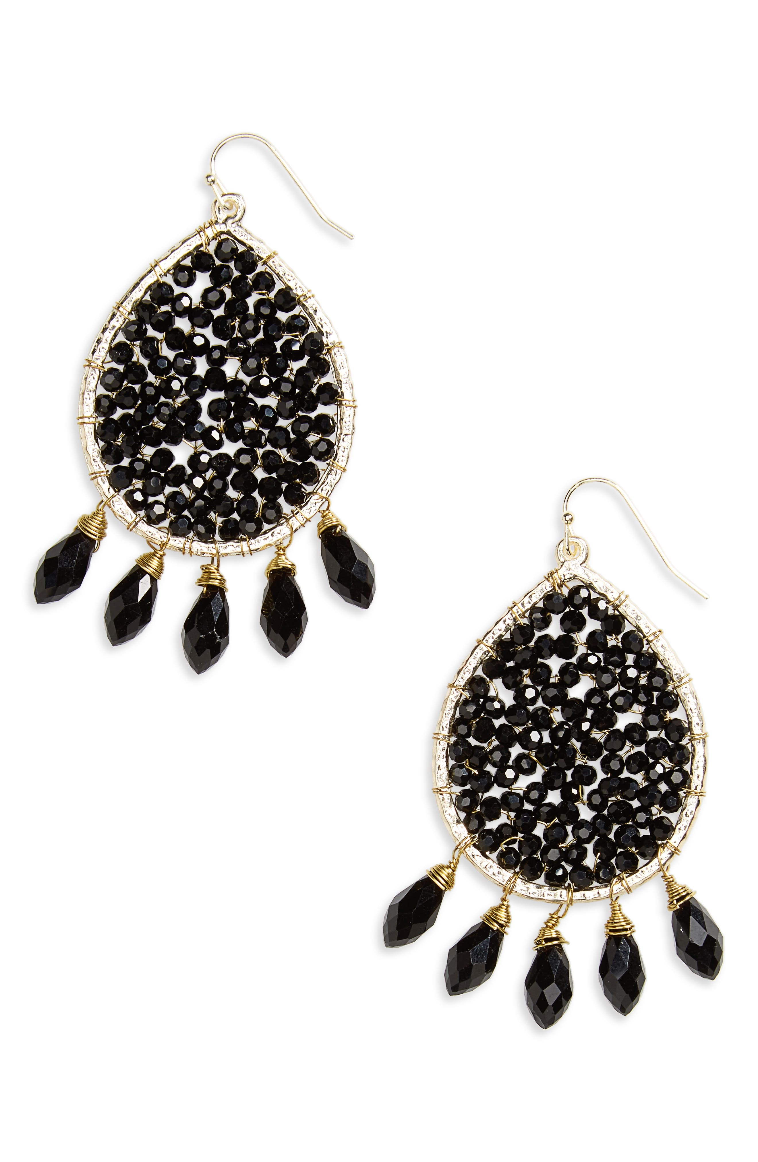 Crystal Teardrop Earrings,                         Main,                         color, Black