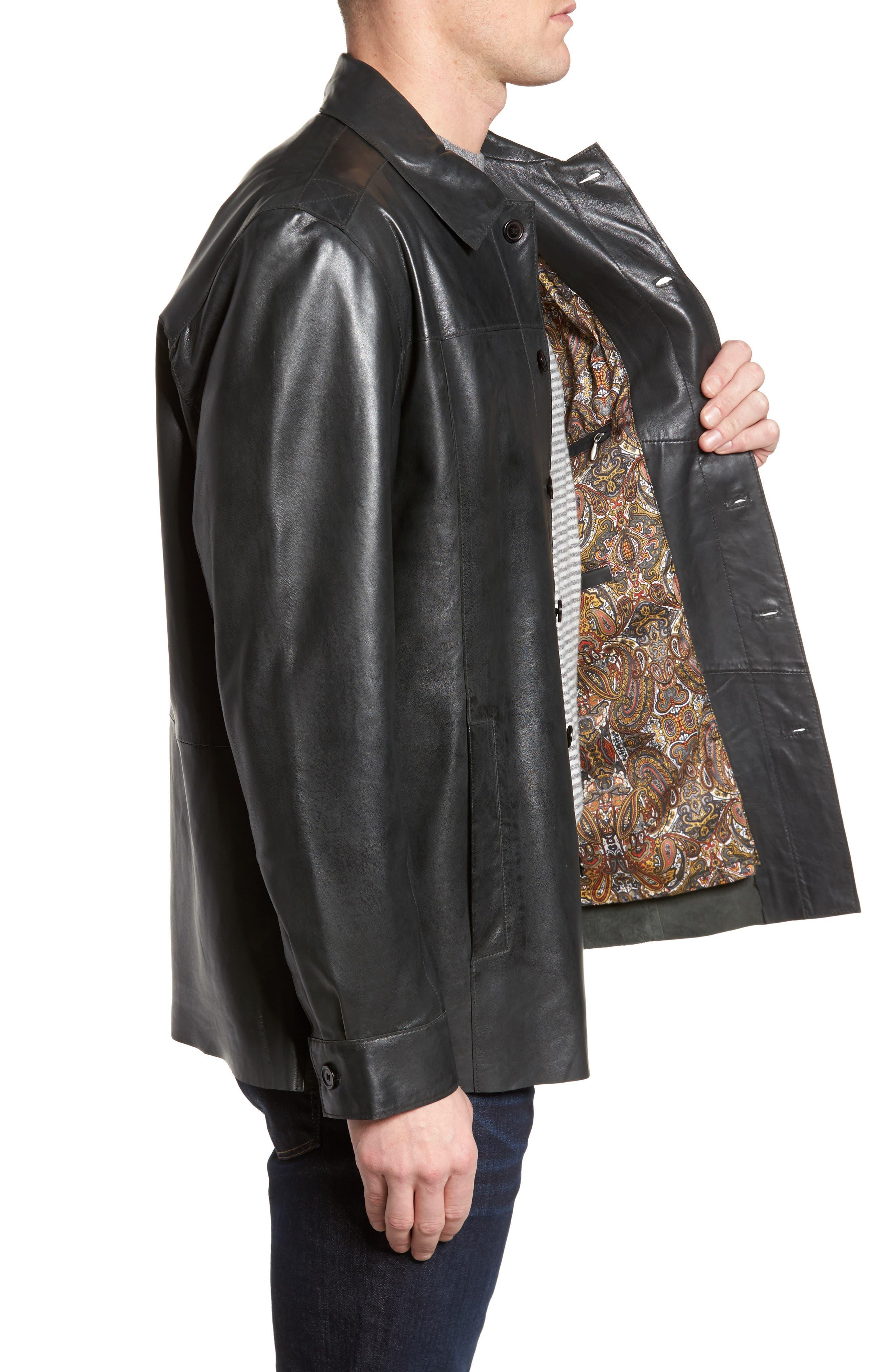 Vintage Leather Sport Coat,                             Alternate thumbnail 3, color,                             Black