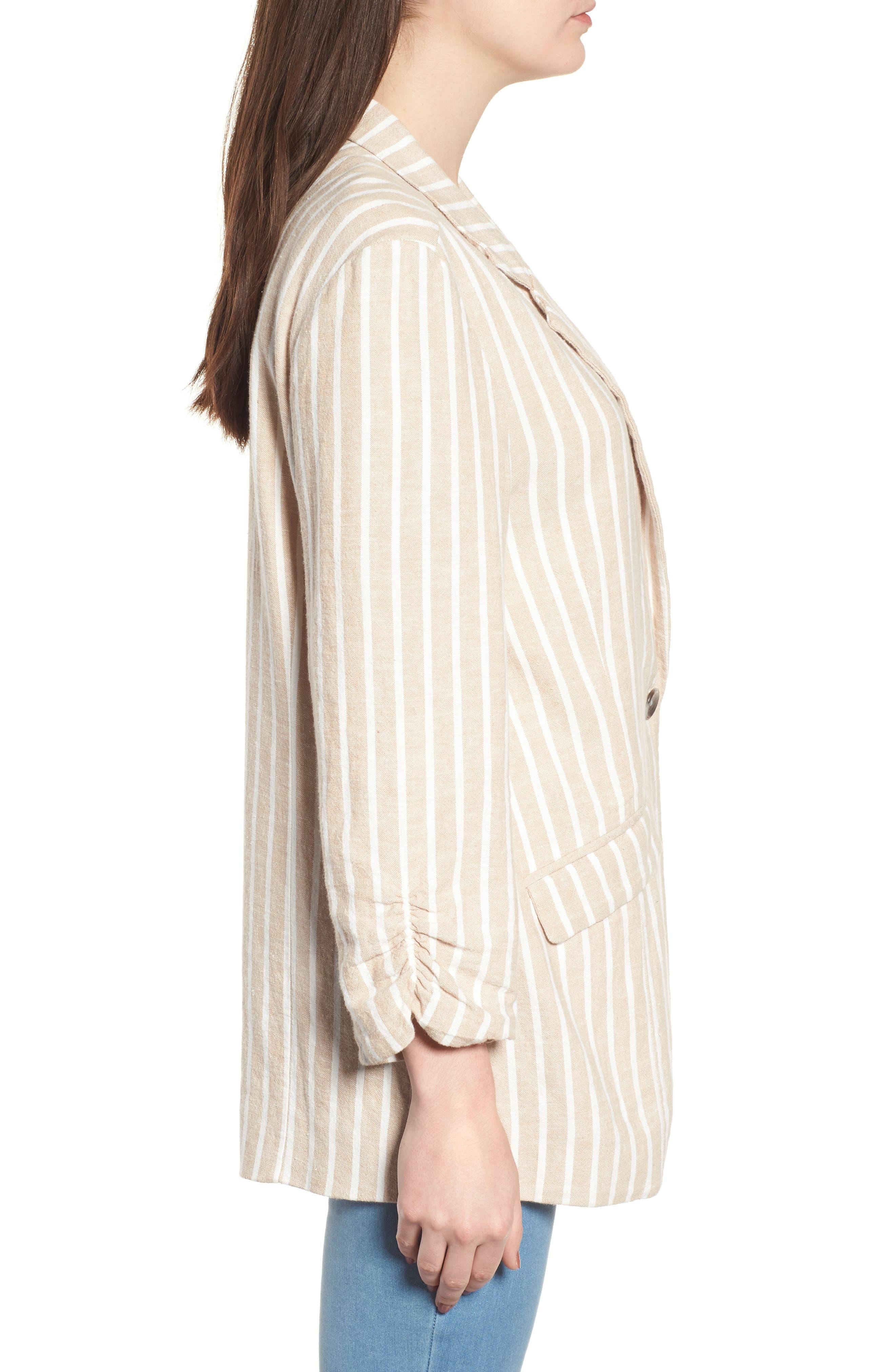 Cinch Sleeve Blazer,                             Alternate thumbnail 3, color,                             Tan Nomad Ella Linen Stripe