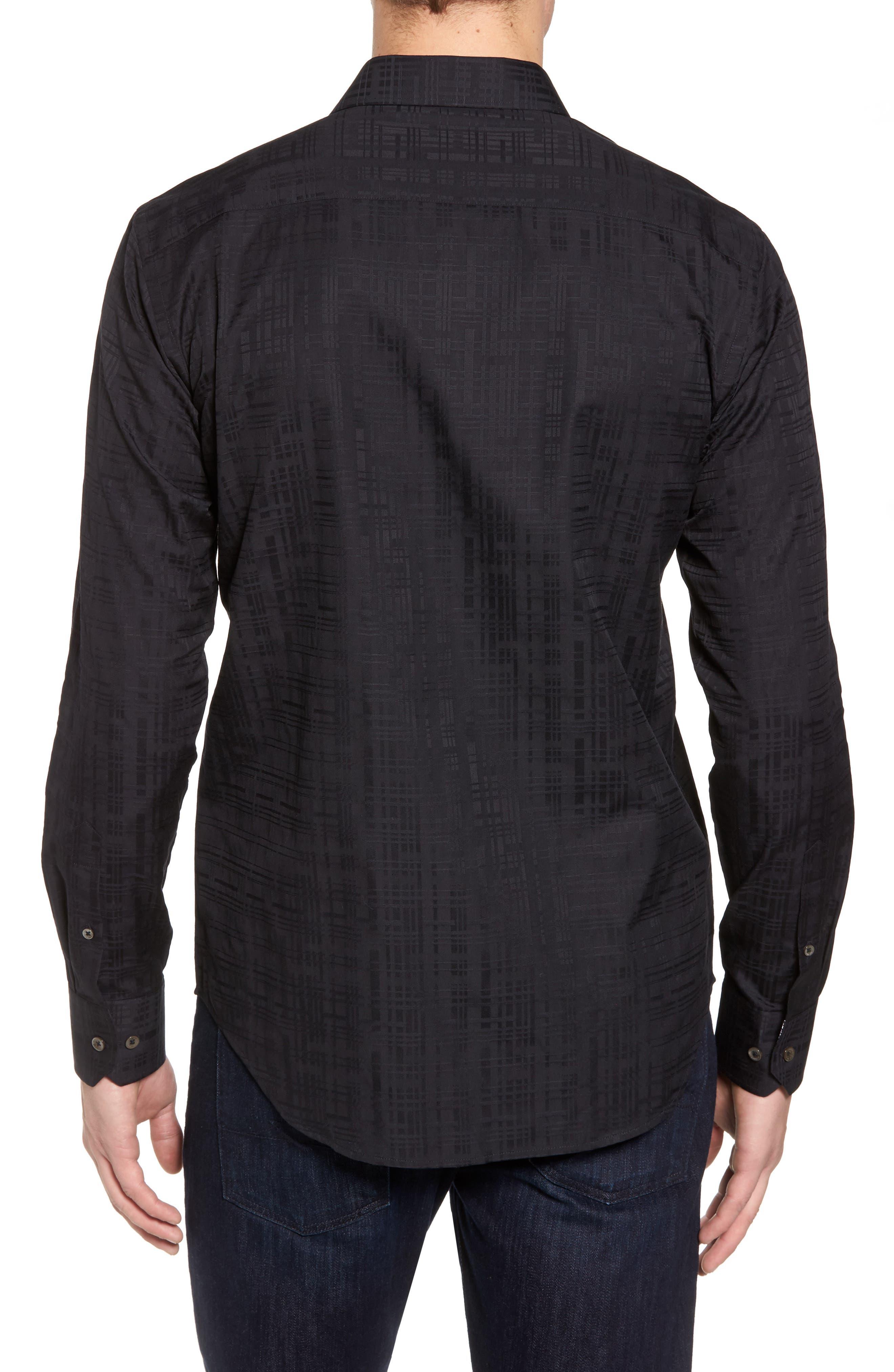 Shaped Fit Tonal Print Sport Shirt,                             Alternate thumbnail 2, color,                             Black