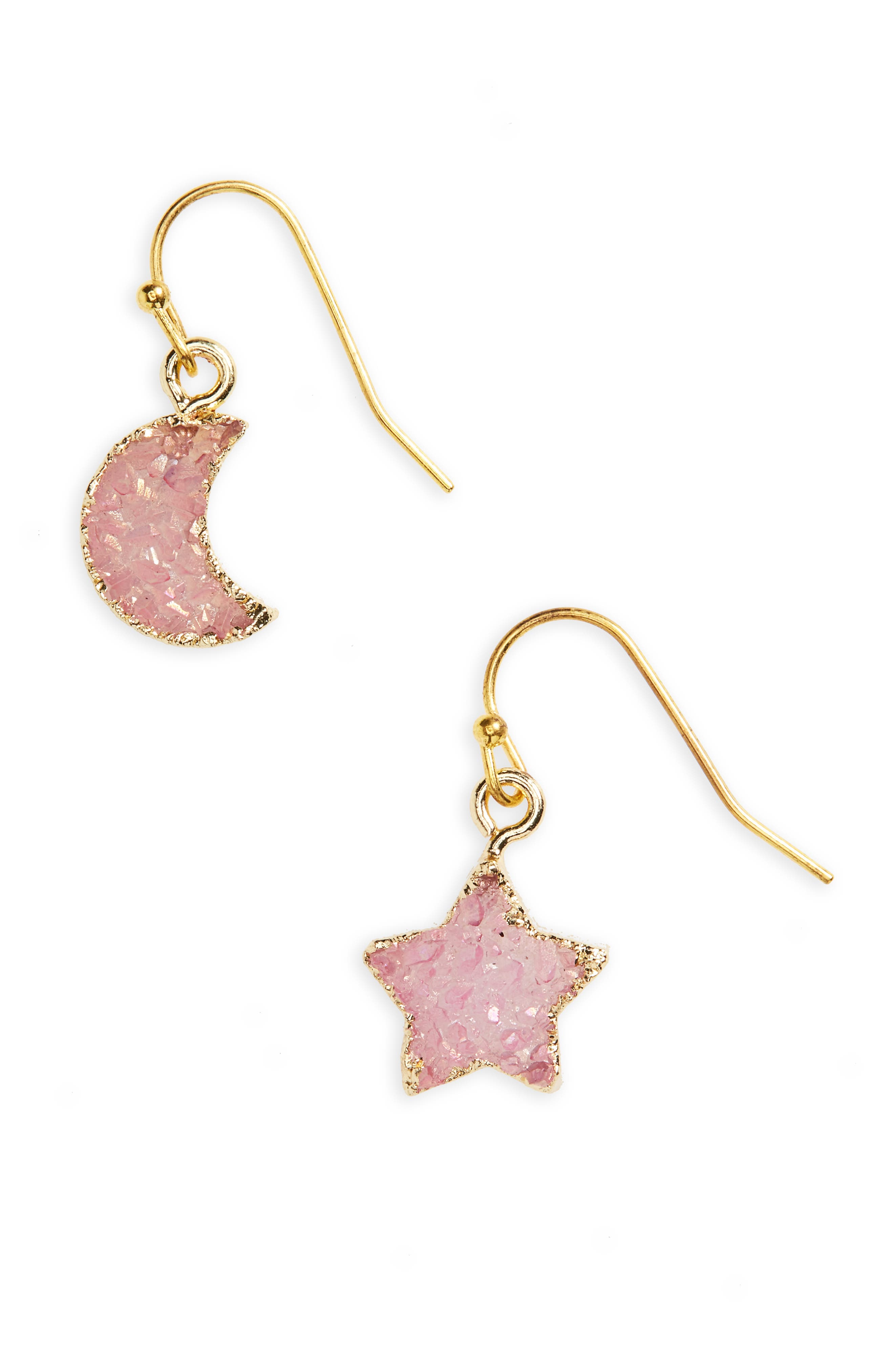Moon & Star Drusy Stone Earrings,                             Main thumbnail 1, color,                             Pink