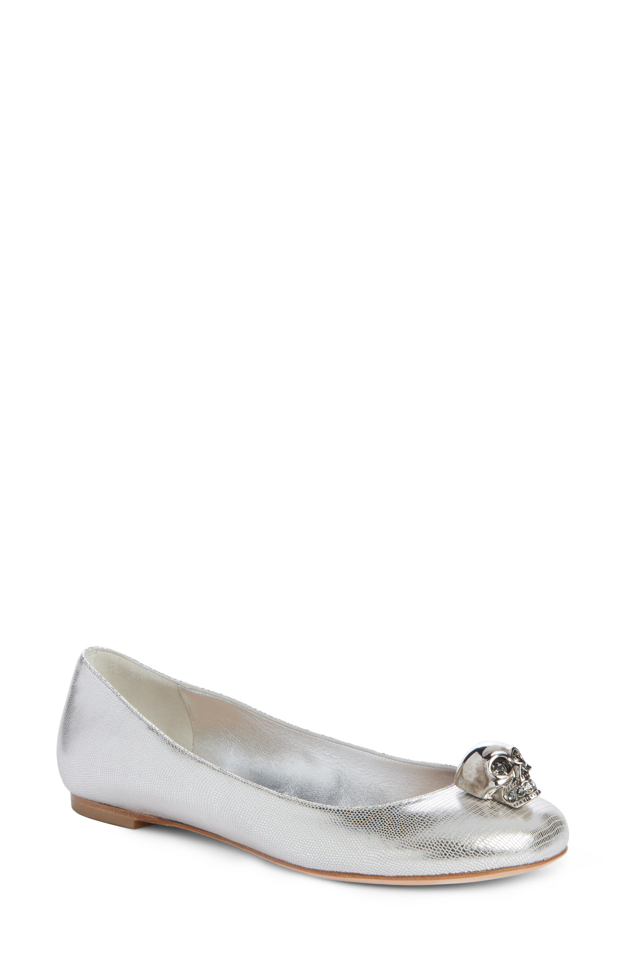 Skullhead Metallic Slipper Flat,                         Main,                         color, Silver