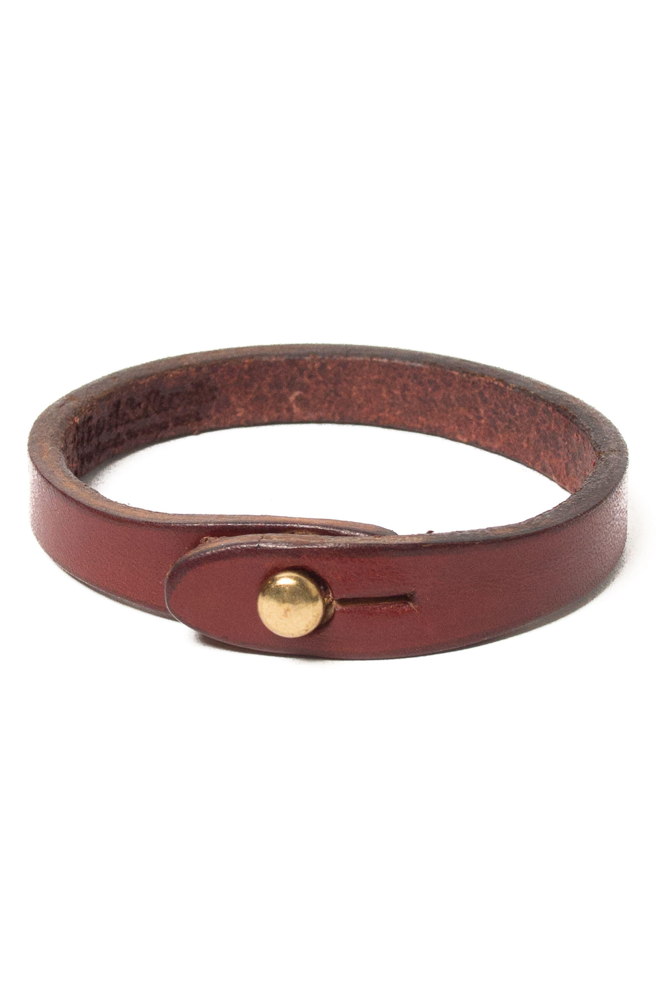 Wristwrap Leather Bracelet,                         Main,                         color, Chestnut