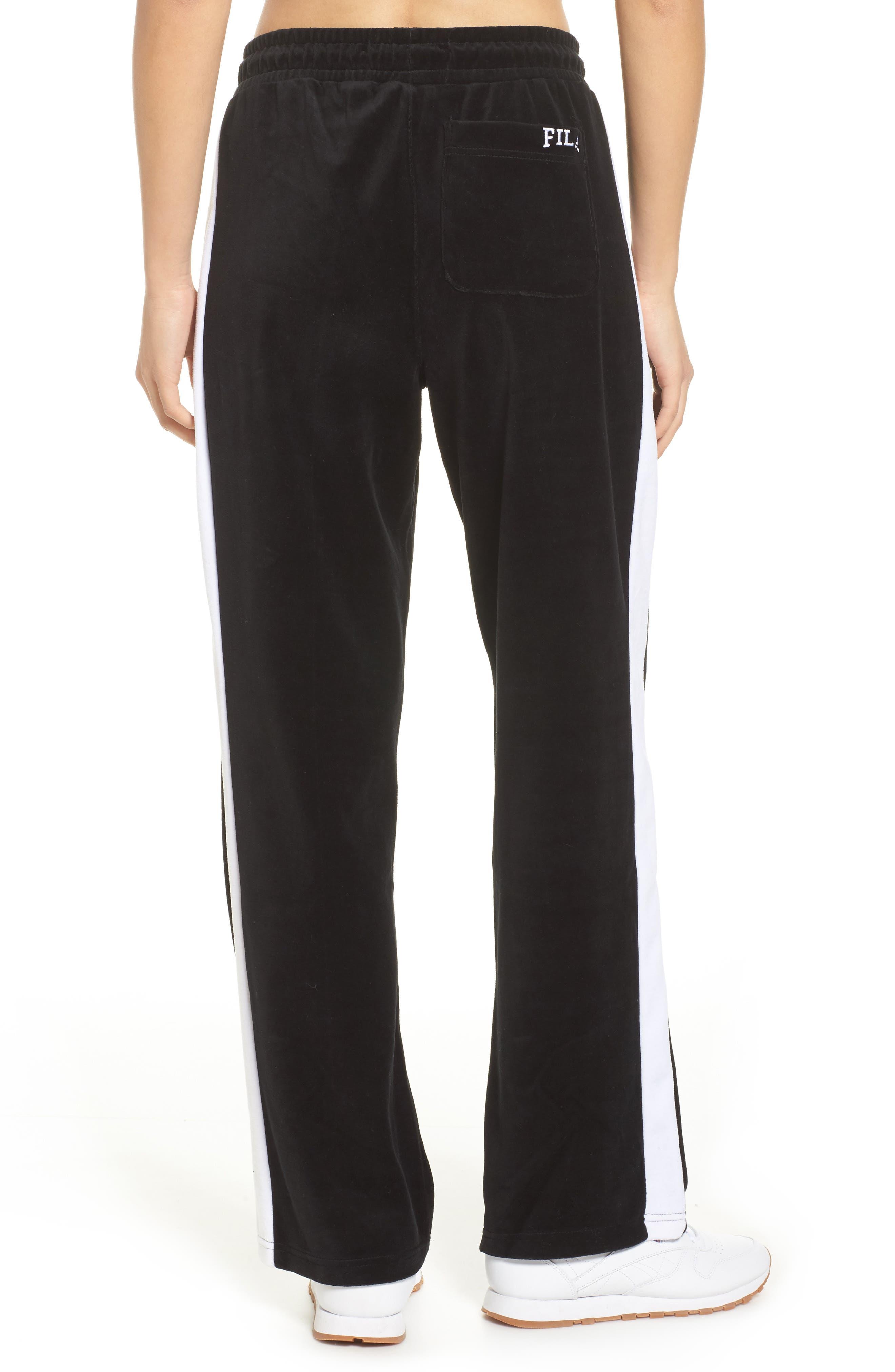 Bonnie Velour Track Pants,                             Alternate thumbnail 2, color,                             Black/ White